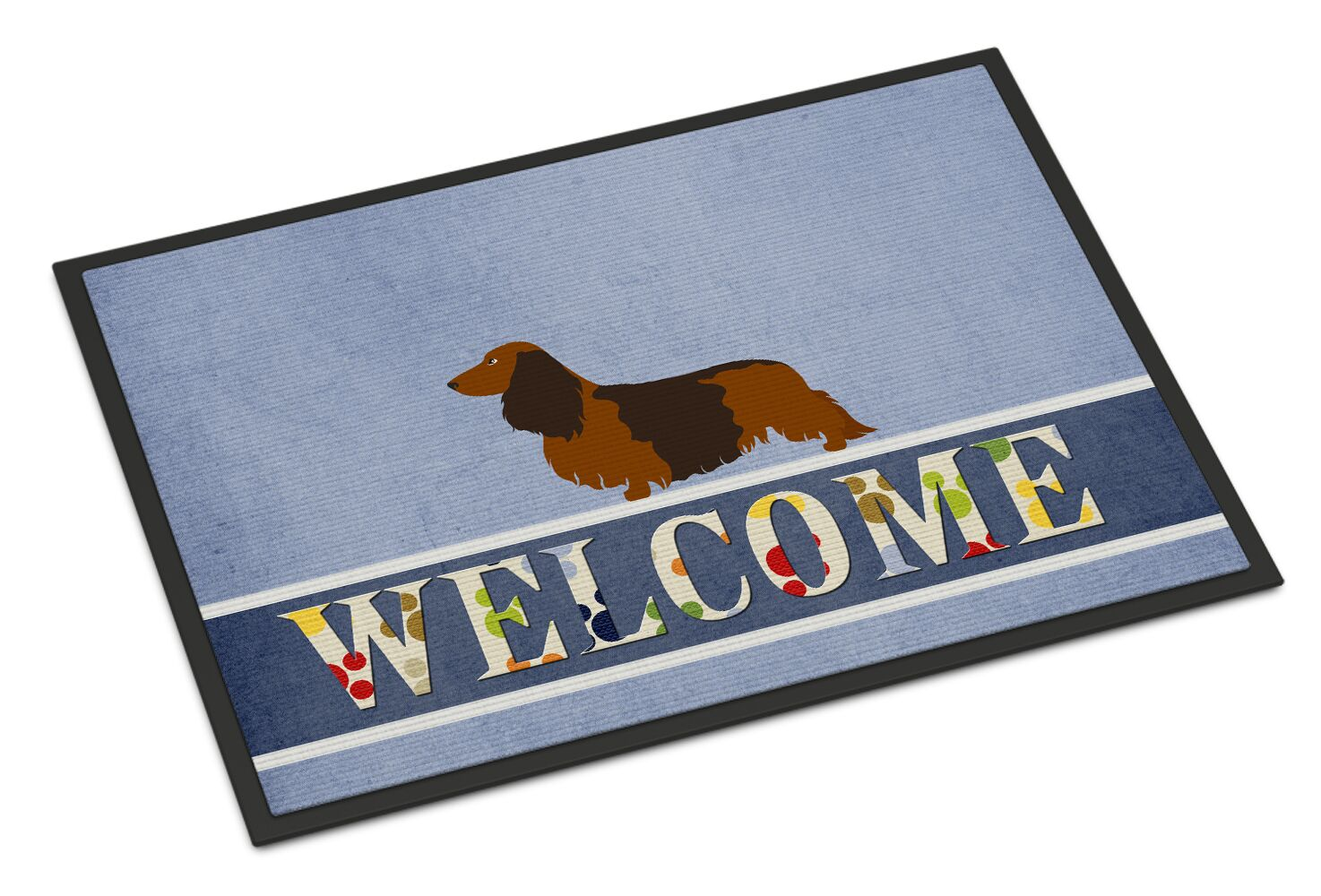 Longhaired Dachshund Welcome Doormat