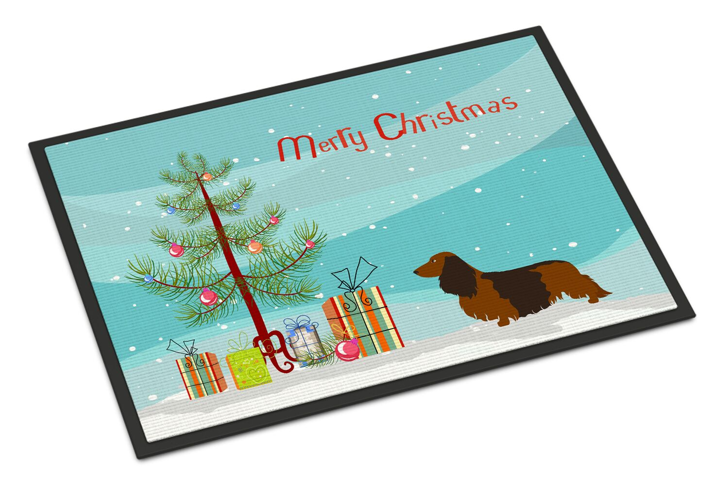 Longhaired Dachshund Christmas Doormat