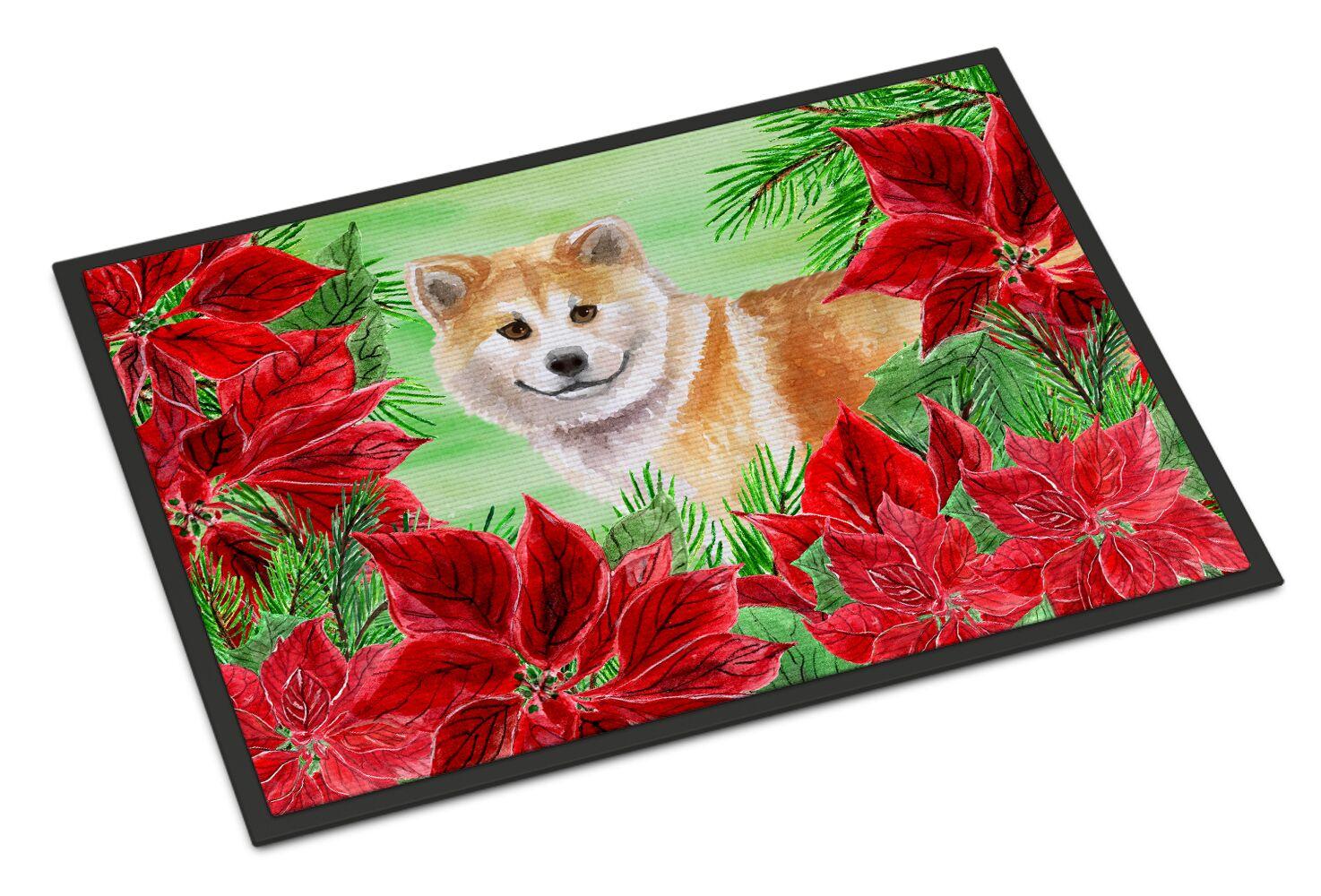 Shiba Inu Poinsettas Doormat