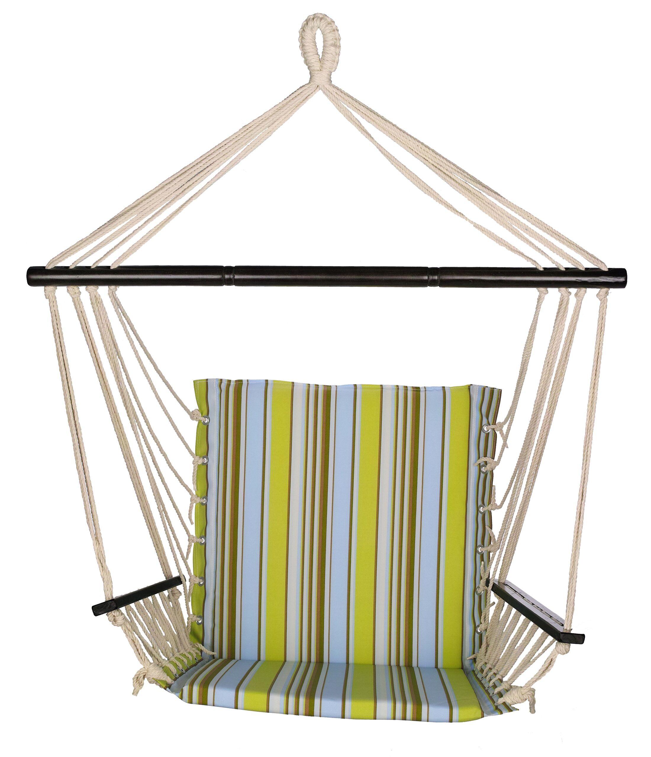Godfrey Fabric Chair Hammock Color: Blue/Green
