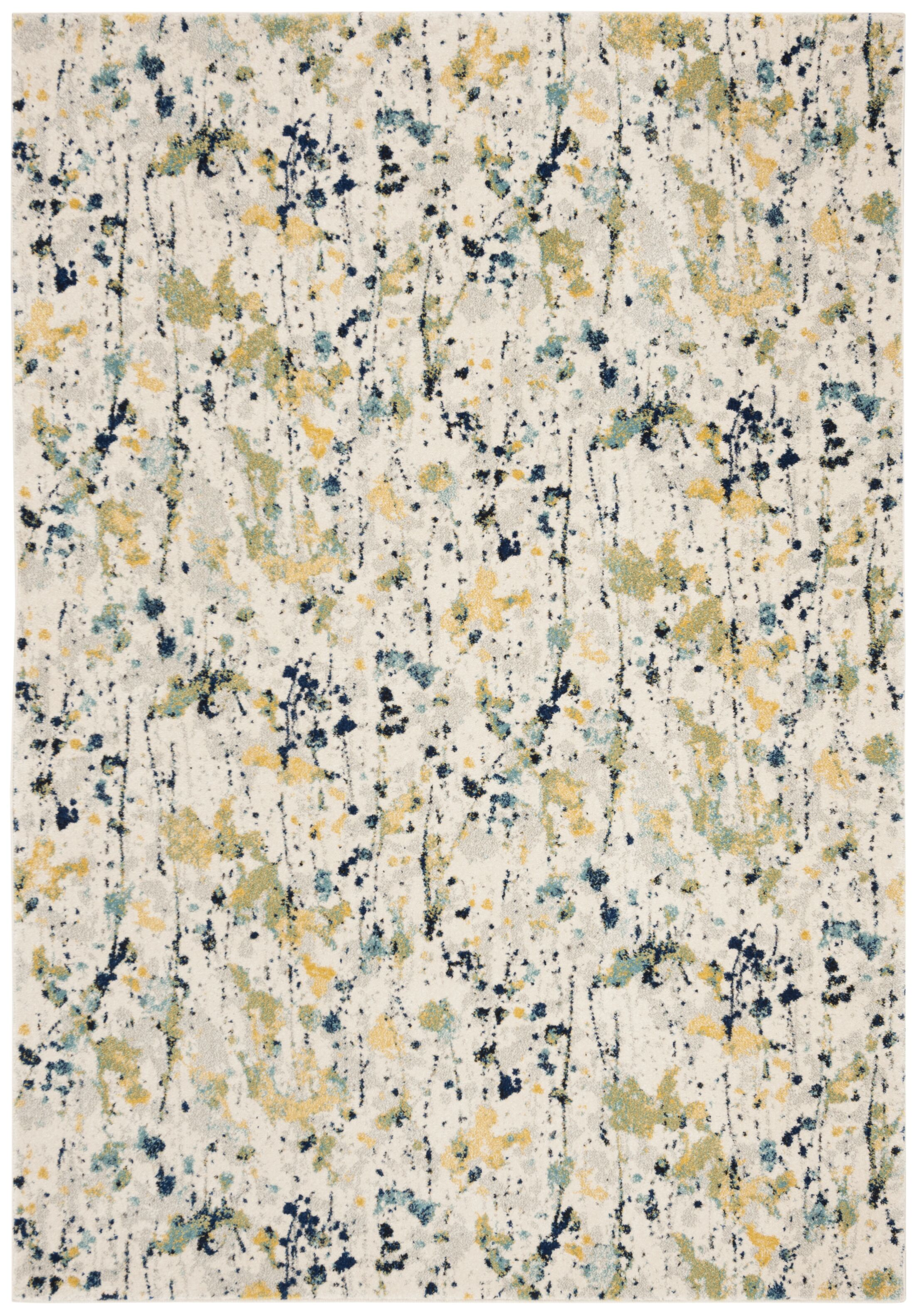 Gore Ivory/Yellow Area Rug Rug Size: Rectangle 9' x 12'