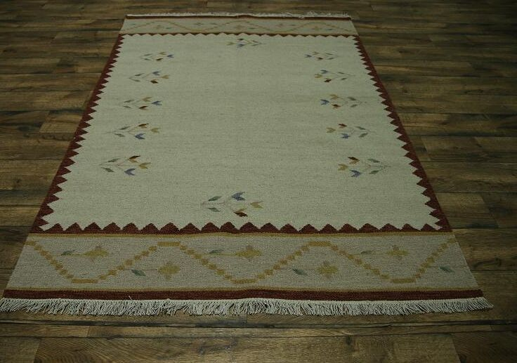 Purcell Oriental Hand-Woven Wool Beige Area Rug
