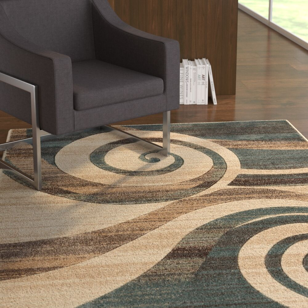 Herring Whirlwind Mint Area Rug Rug Size: Rectangle 5'3
