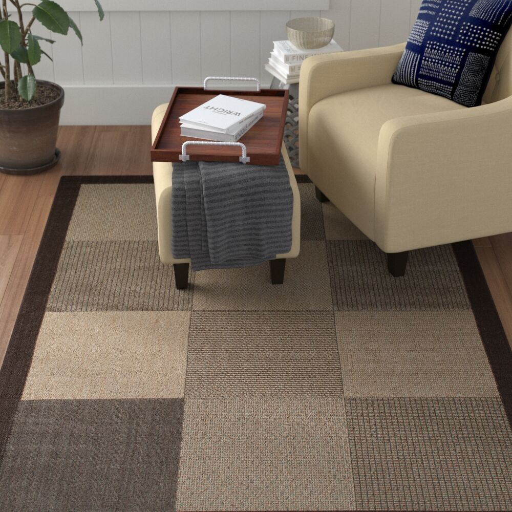 Russo All Weather Indoor/Outdoor Chocolate Area Rug Rug Size: 7'10