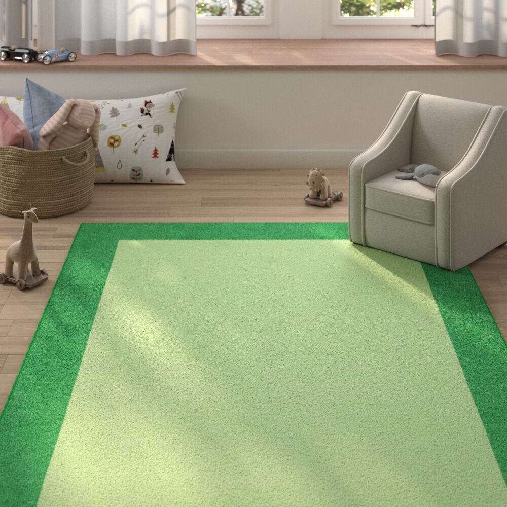 Highlands Hand-Tufted Wool Green/Dark Green Area Rug Rug Size: Rectangle 8' X 10'