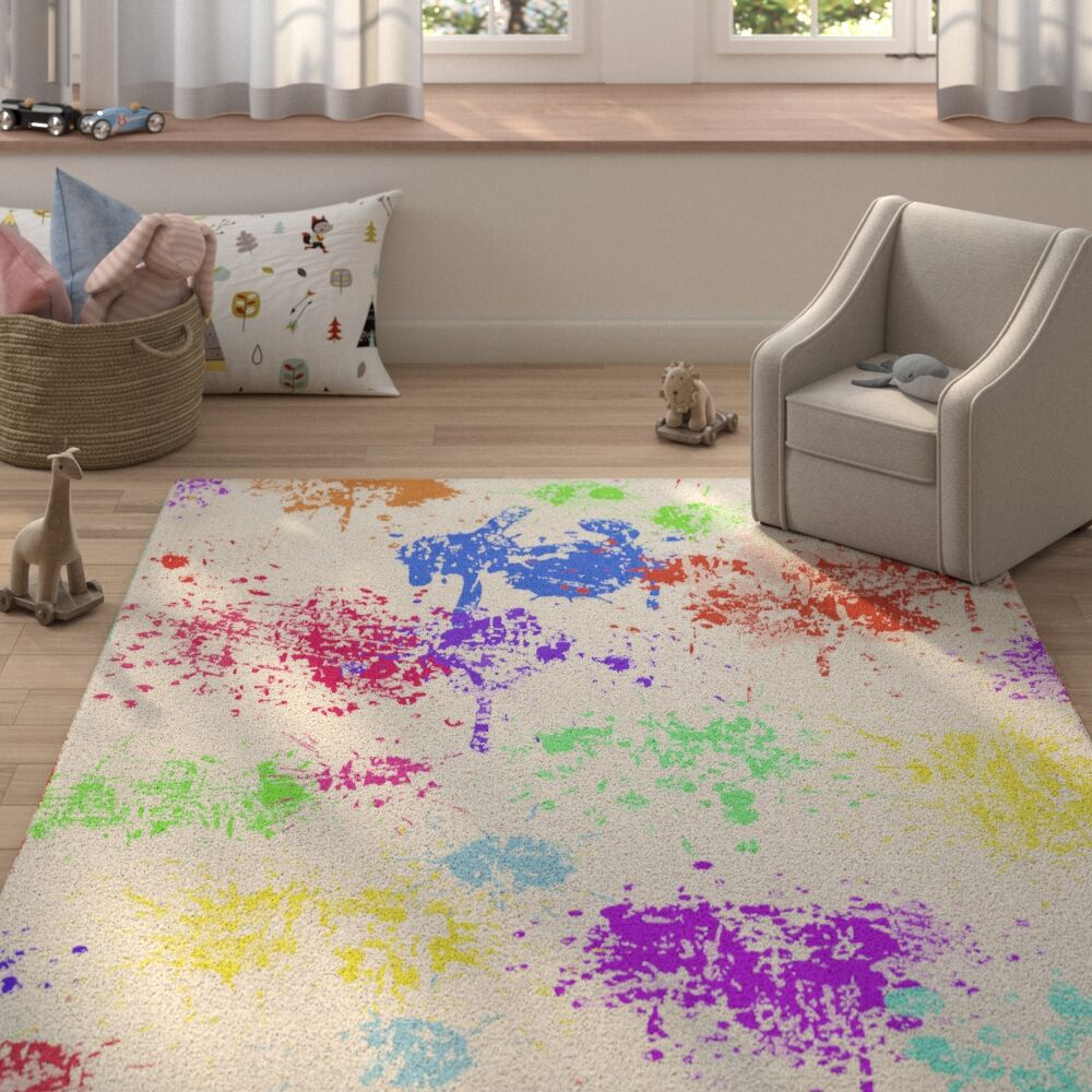 Hibiscus Purple/Red/Blue Area Rug Rug Size: Rectangle 2' x 3'