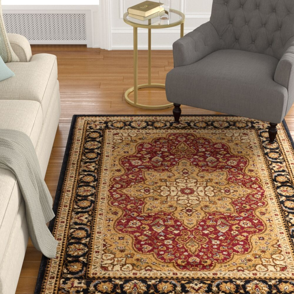 Sacha Red/Beige/Black Area Rug Rug Size: 5' x 7'