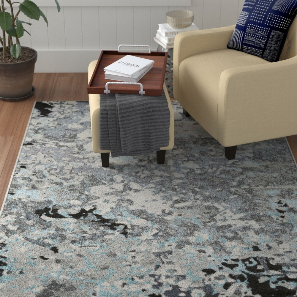 Holmstrom Abstract Gray Area Rug Rug Size: Rectangle 5'3