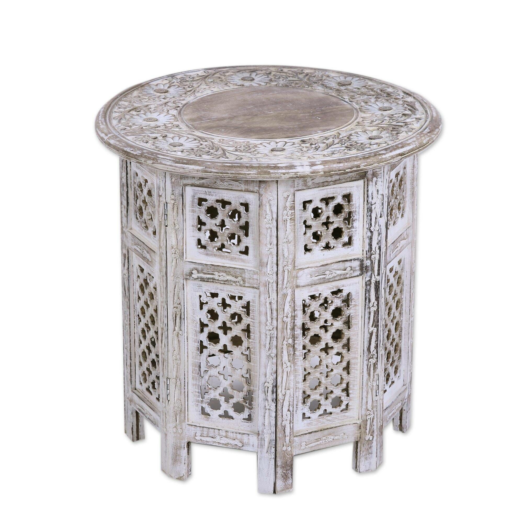 Cielito Antique Jali Wood End Table