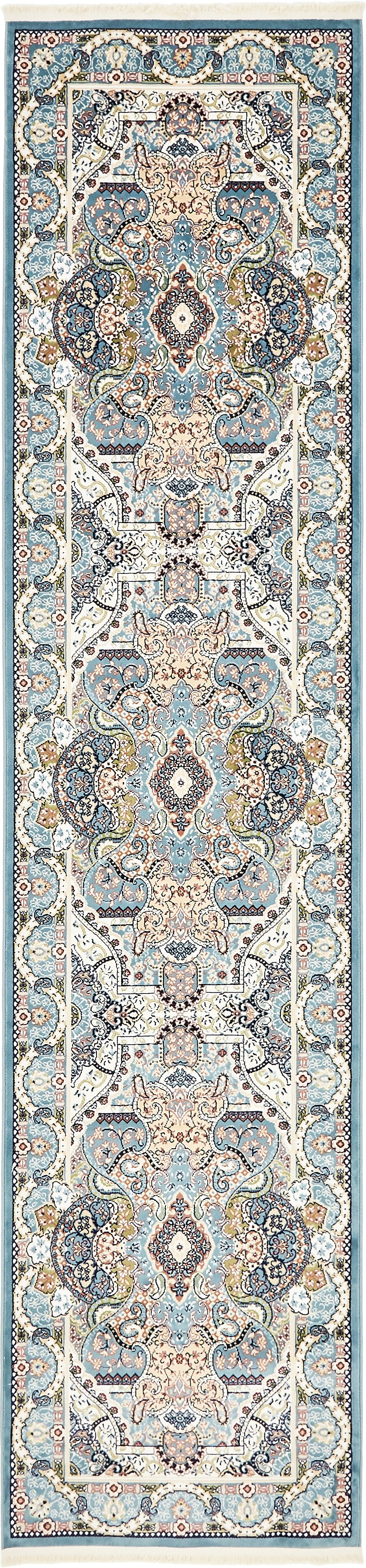 Quince Blue/Tan Area Rug Rug Size: Runner 3' x 13'