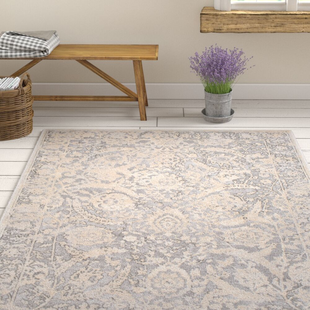 Kirtley Floral Charcoal/Cream Area Rug Rug Size: Rectangle 5'3