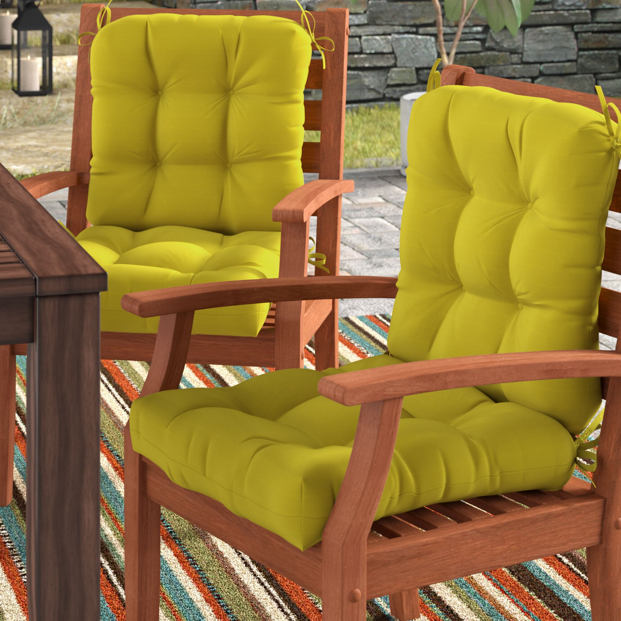 Sarver Synthetic Indoor/Outdoor Dining Chair Cushion Fabric: Kiwi Green