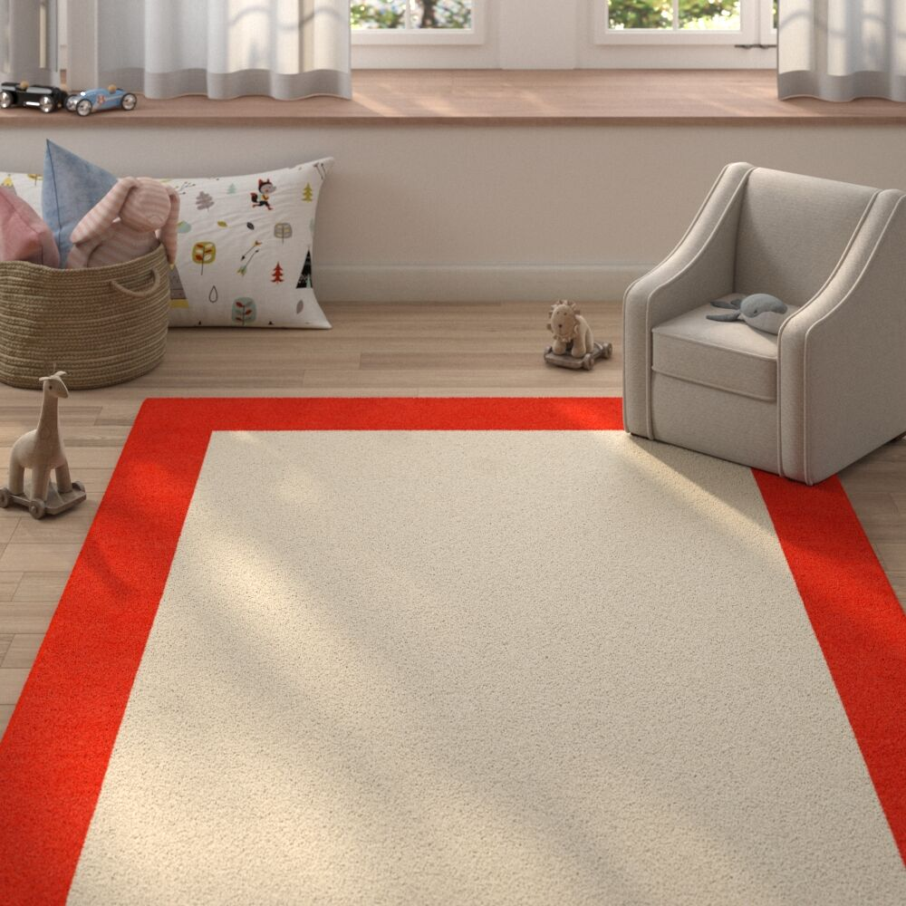 Highlands Modern Hand-Tufted Wool Red/Pink Area Rug Rug Size: Rectangle 9' X 12'