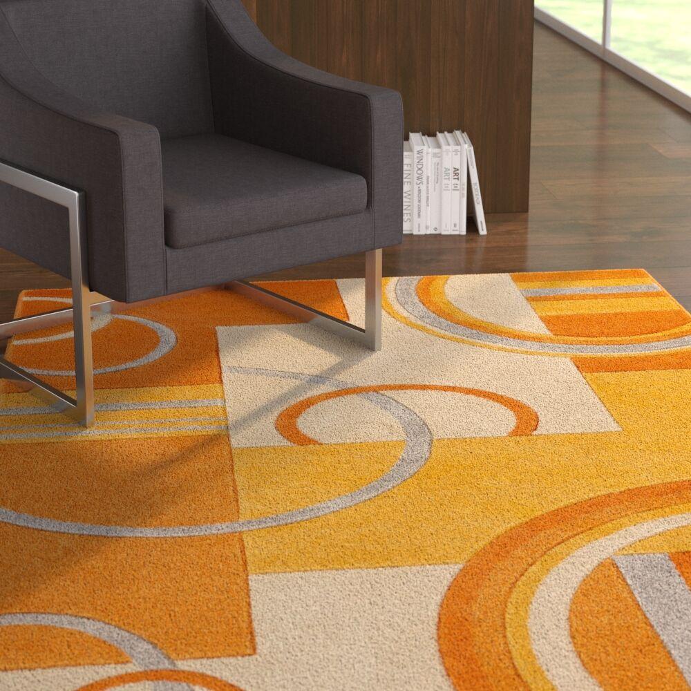 Herring Galaxy Waves Orange Area Rug Rug Size: Rectangle 9'3'' x 12'6''