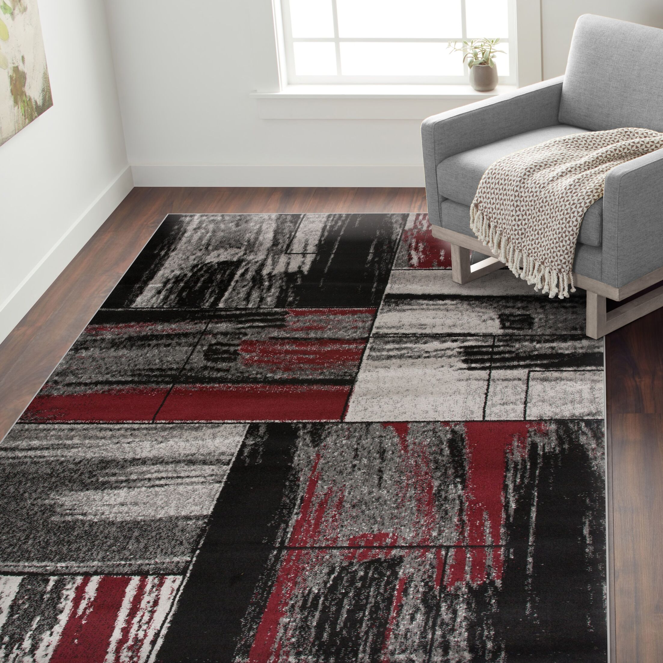 Isaac Distressed Geometric Boxes Gray Area Rug Rug Size: Rectangle 3'3