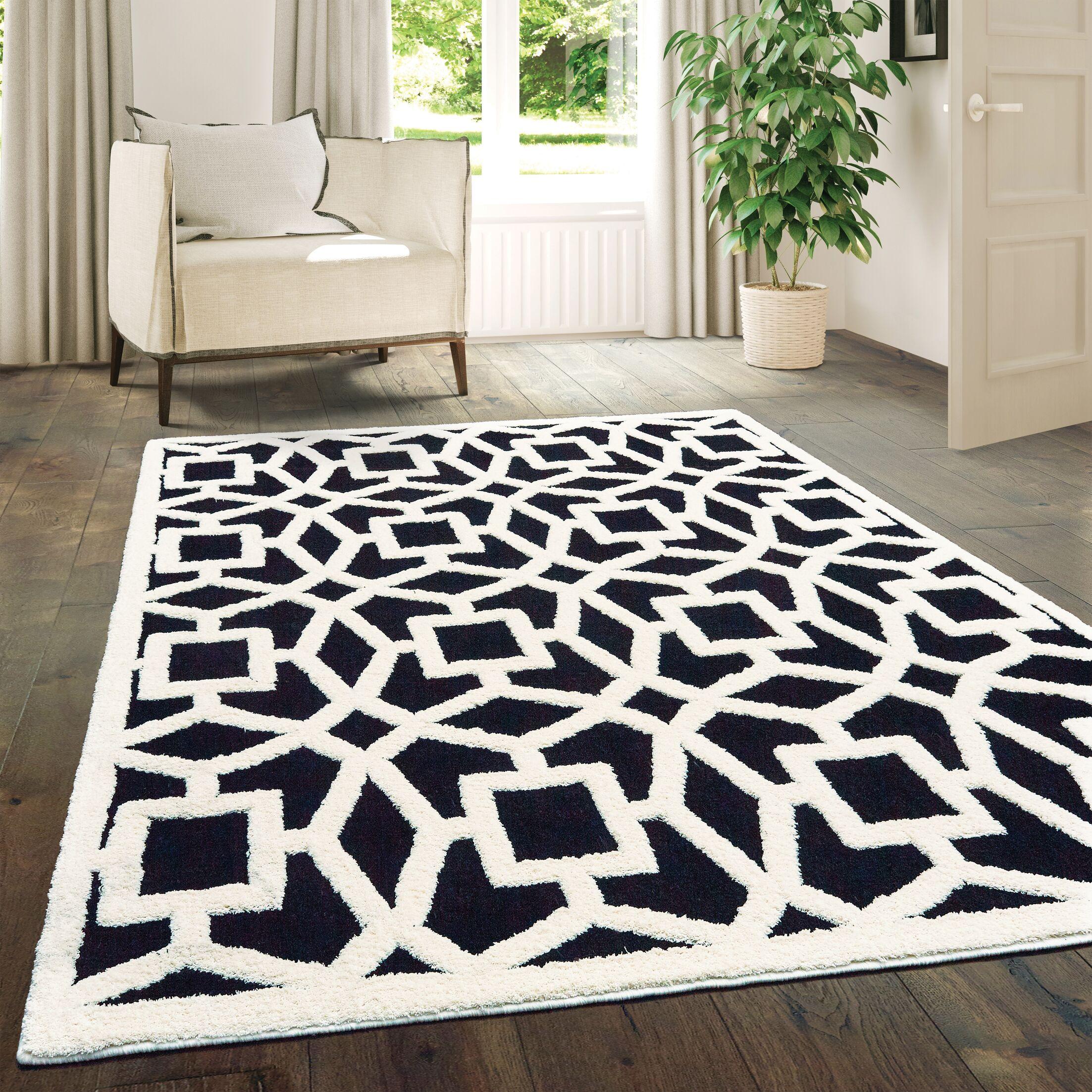 Alhambra Black/White Area Rug Rug Size: Rectangle5'3