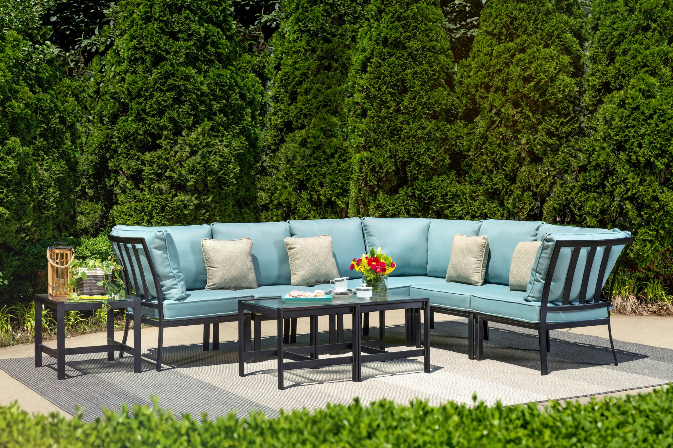 Avalon 9 Piece Rattan Sectional Set with Cushions Cushion Color: Ocean Blue