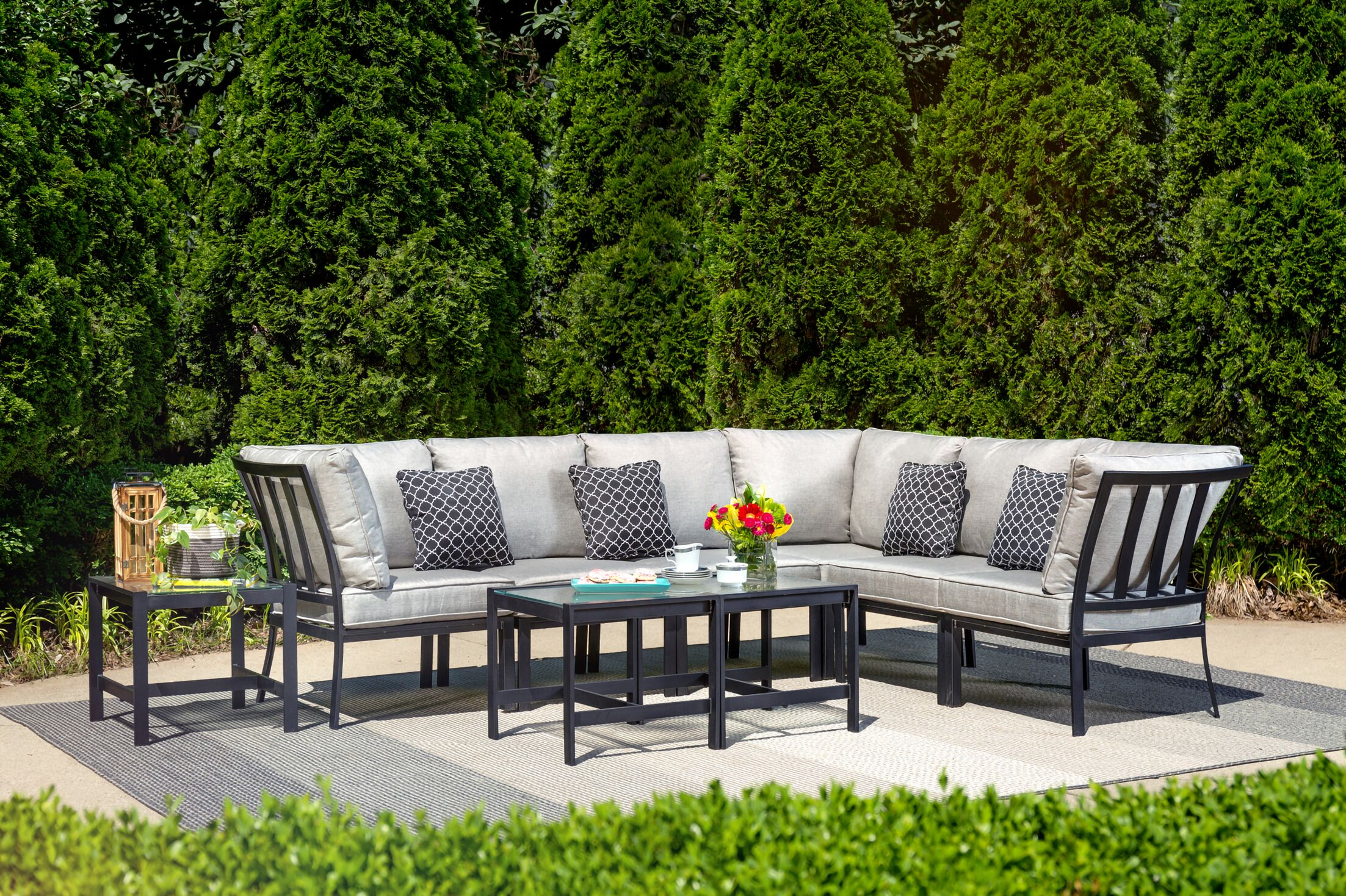 Avalon 9 Piece Rattan Sectional Set with Cushions Cushion Color: Silver Linings