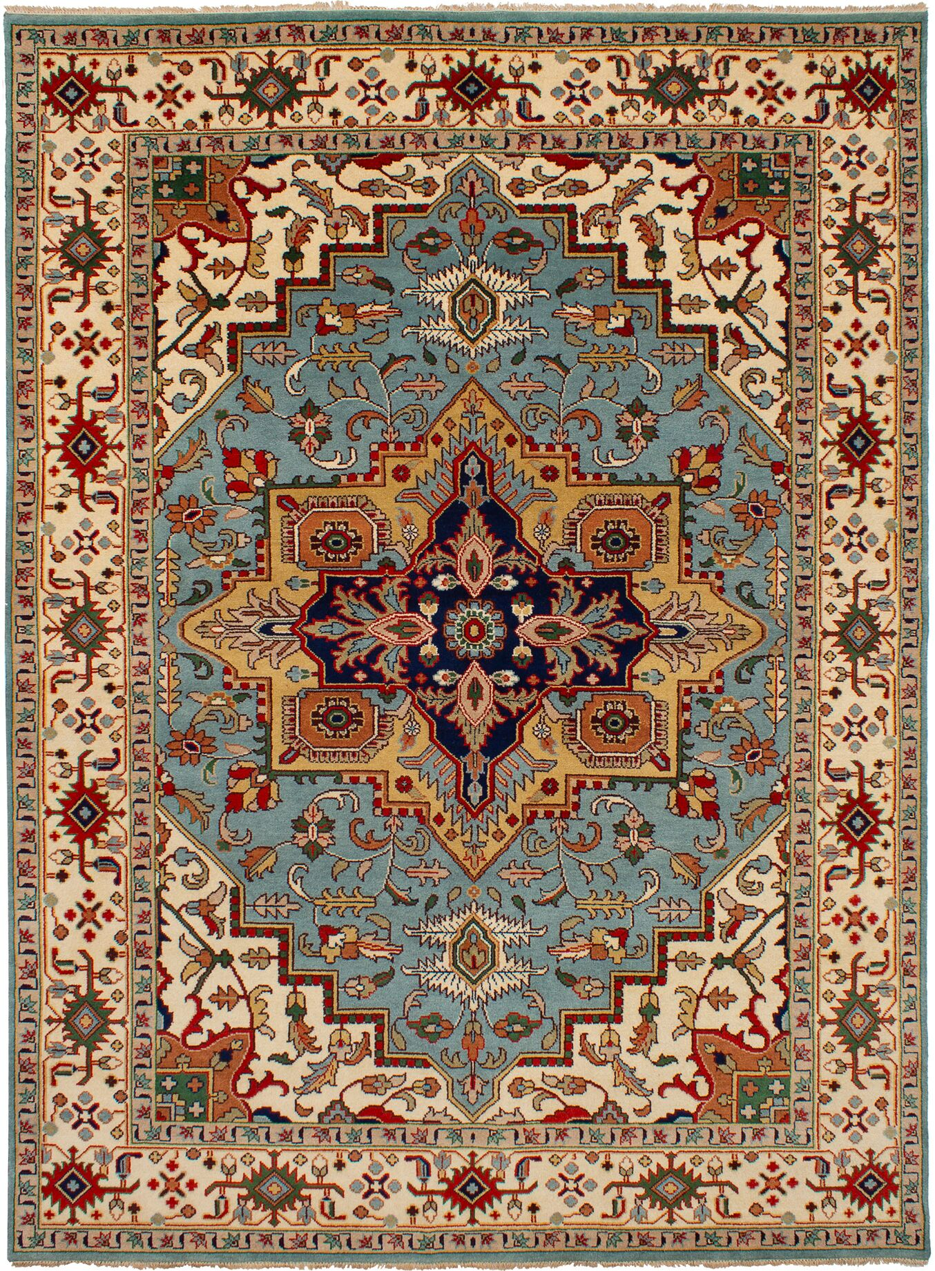 One-of-a-Kind Doerr Hand-Knotted Wool Baby Blue Area Rug