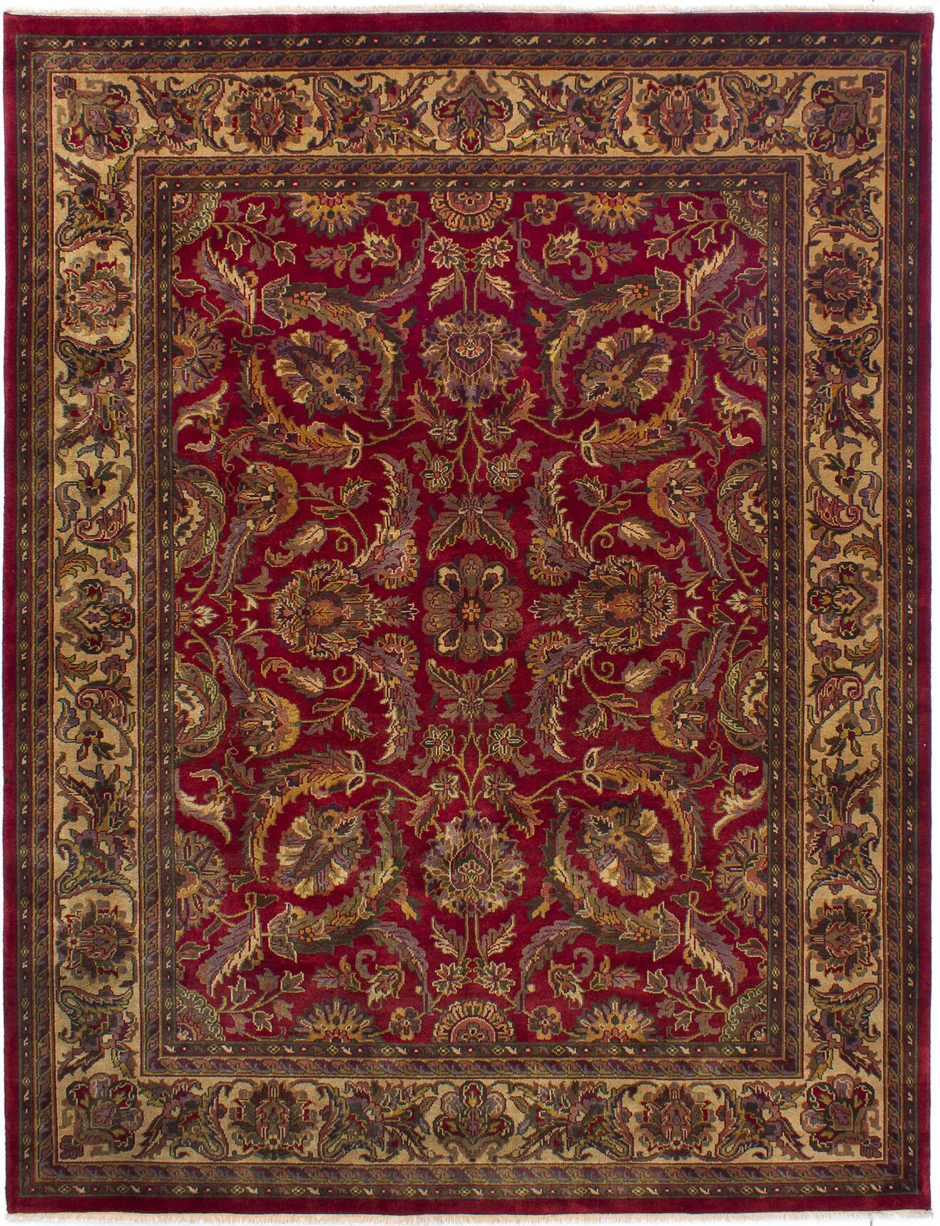 One-of-a-Kind Donley Hand-Knotted Dark Red Wool Area Rug