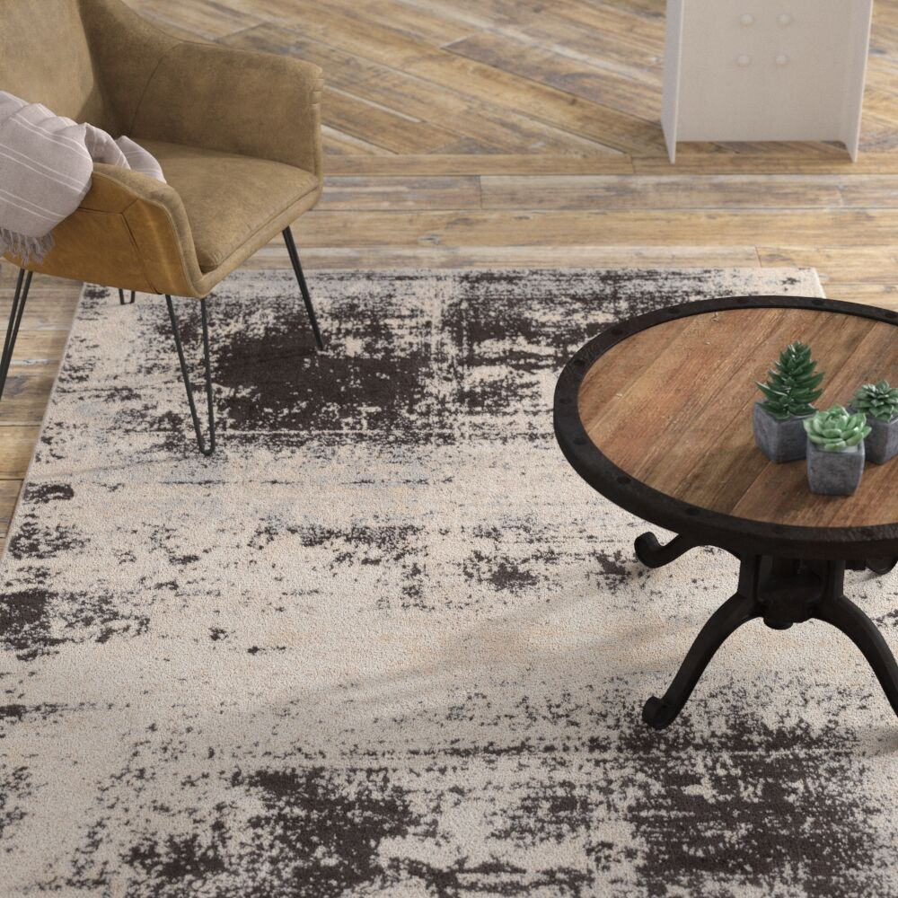 Hegarty Distressed Abstract Taupe/Ivory Area Rug Rug Size: Rectangle 5'3