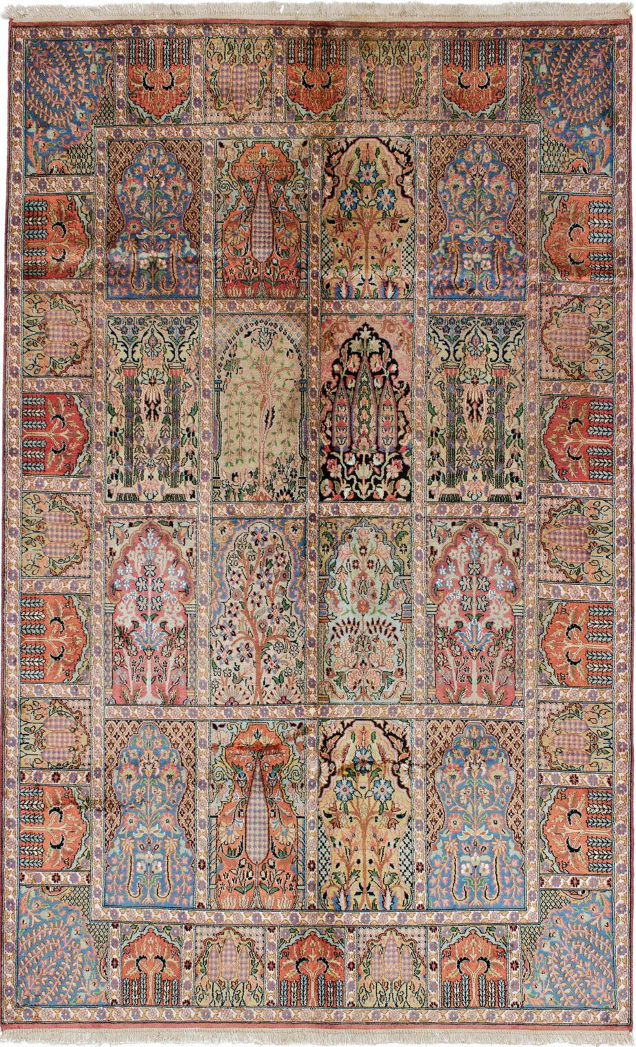 One-of-a-Kind Dodds Hand-Knotted Silk Dark Copper/Light Blue Area Rug