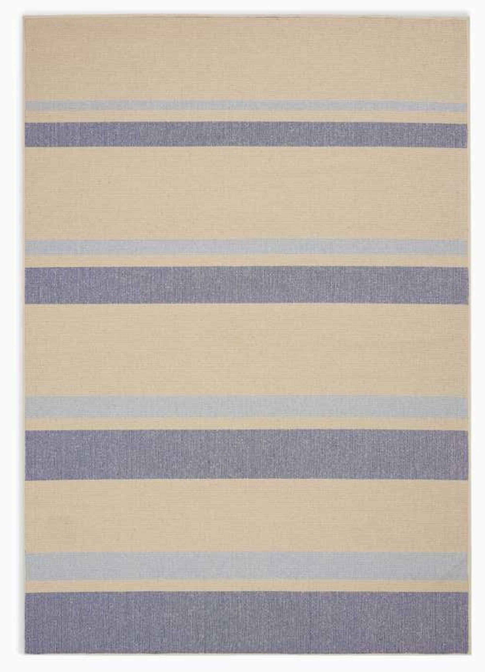 San Diego CK730 Striped Handwoven Flatweave Beige/Light Blue Area Rug Rug Size: Rectangle 5' x 7'