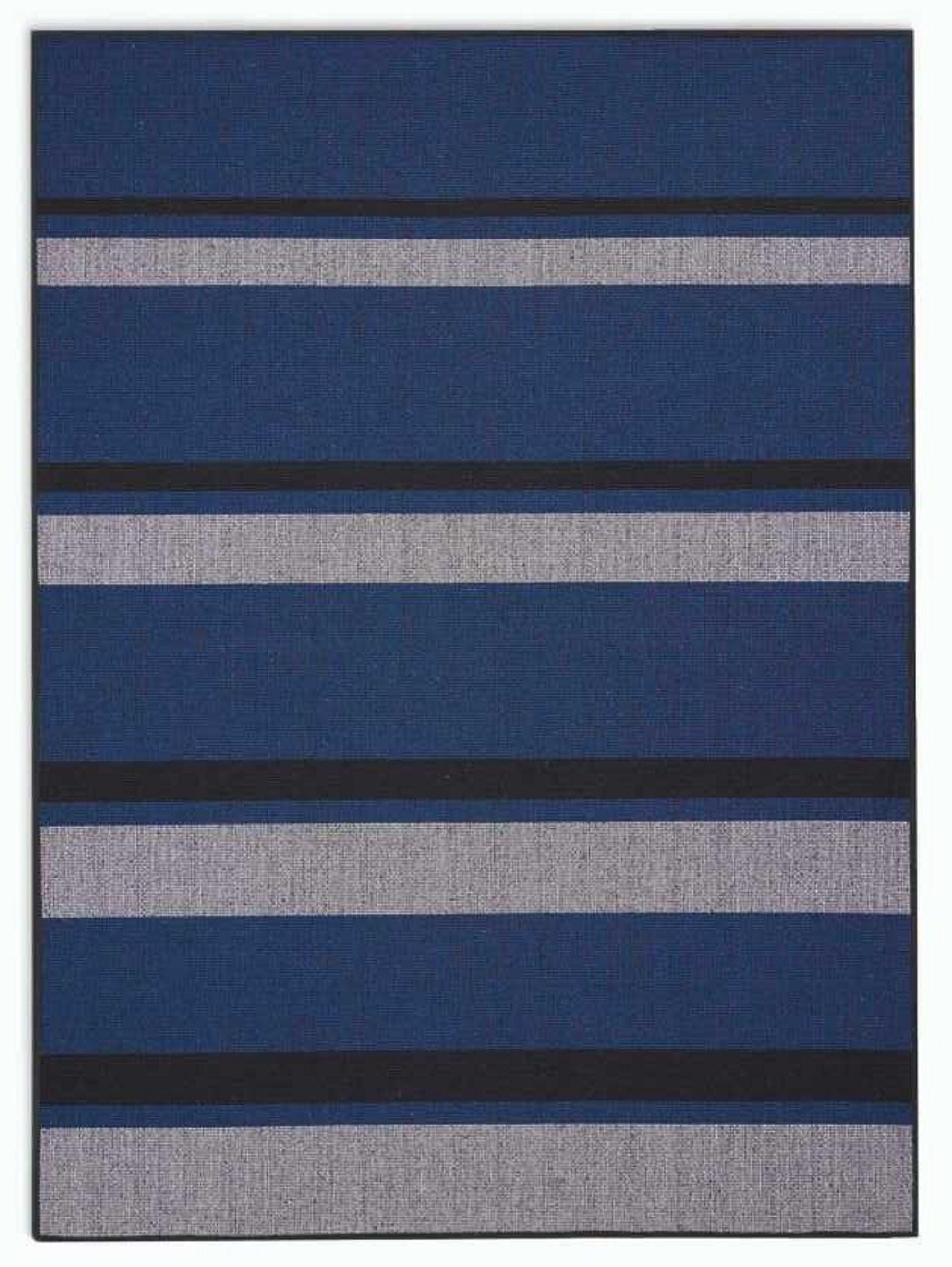 San Diego CK730 Striped Hand-woven Flatweave Cobalt Blue/Black Area Rug Rug Size: Rectangle 4' x 6'