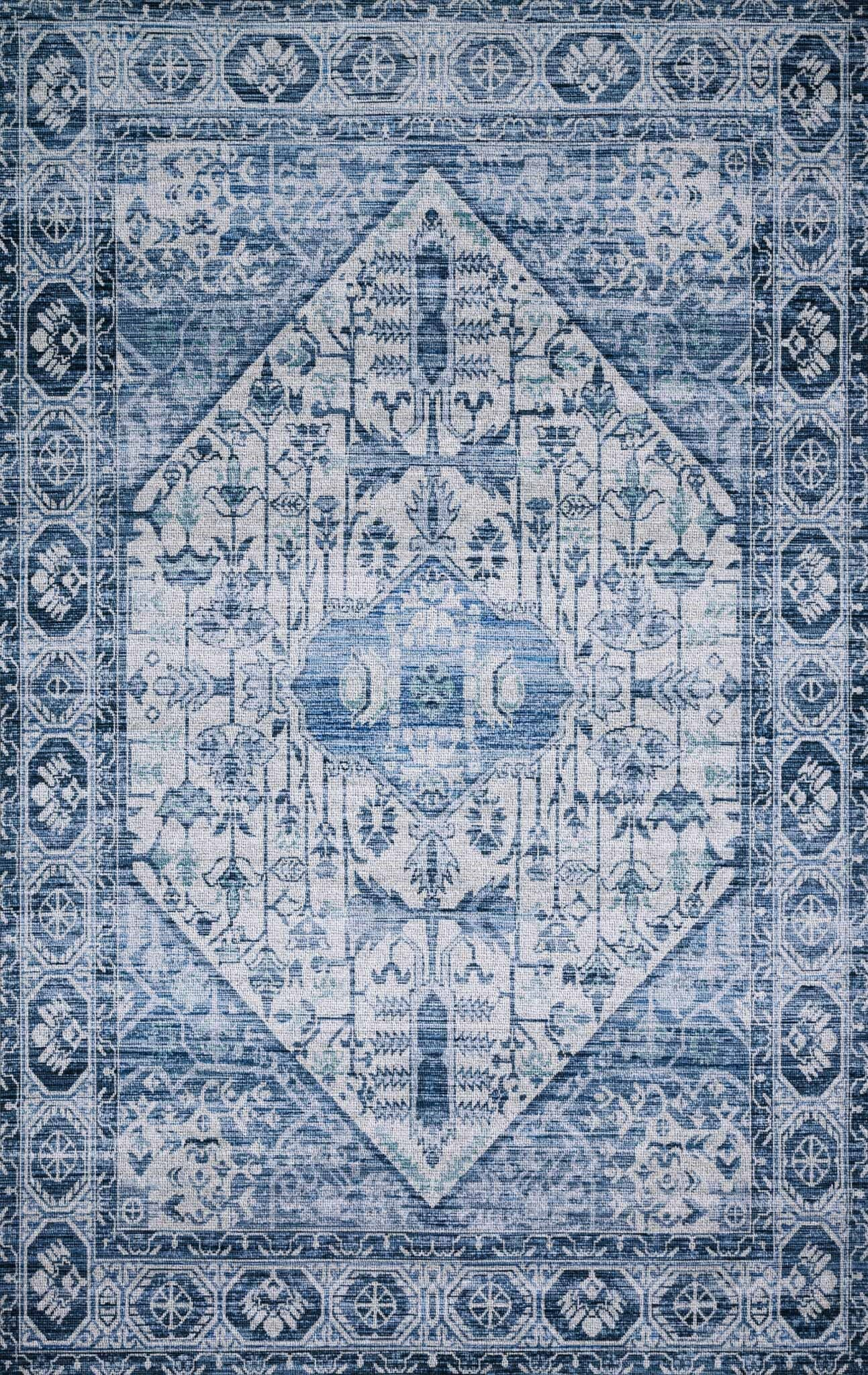 Cielo Ivory/Denim Area Rug Rug Size: Rectangle 5' x 7'6