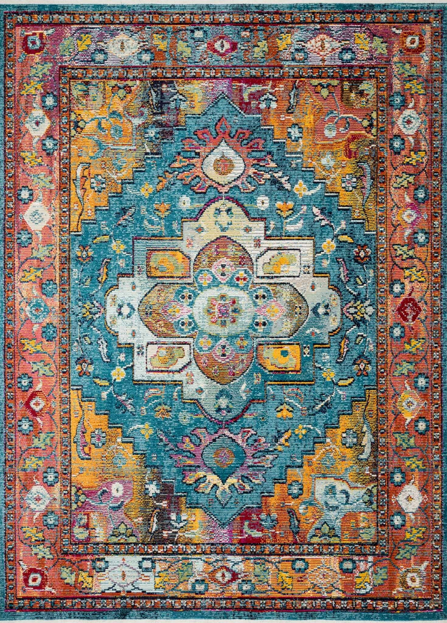 Silvia Blue/Fiesta Area Rug Rug Size: Rectangle 3'11