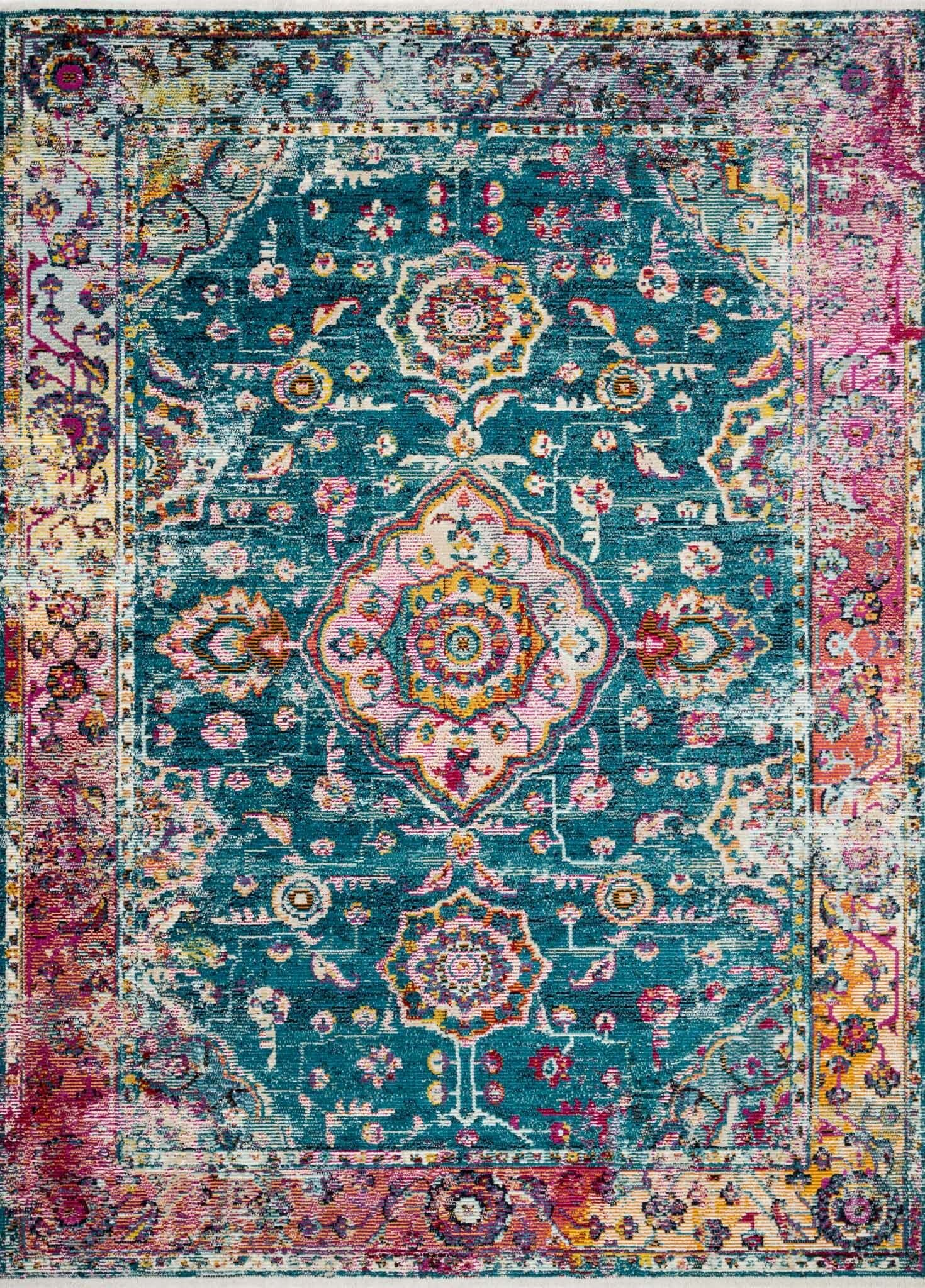 Silvia Teal/Berry Area Rug Rug Size: Rectangle 5' x 7'6