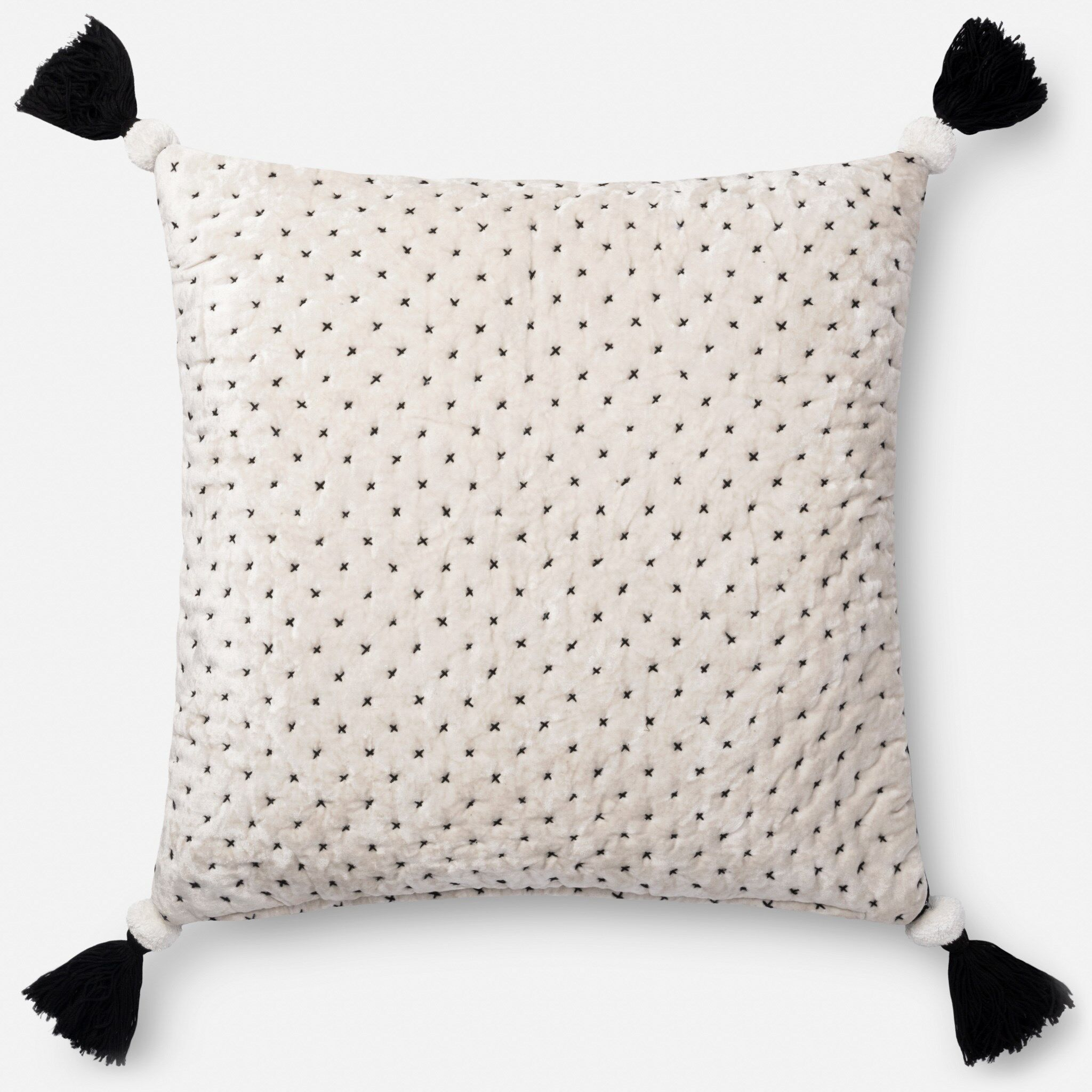 Throw Pillow Color: White/Black, Fill Material: Polyester/Polyfill