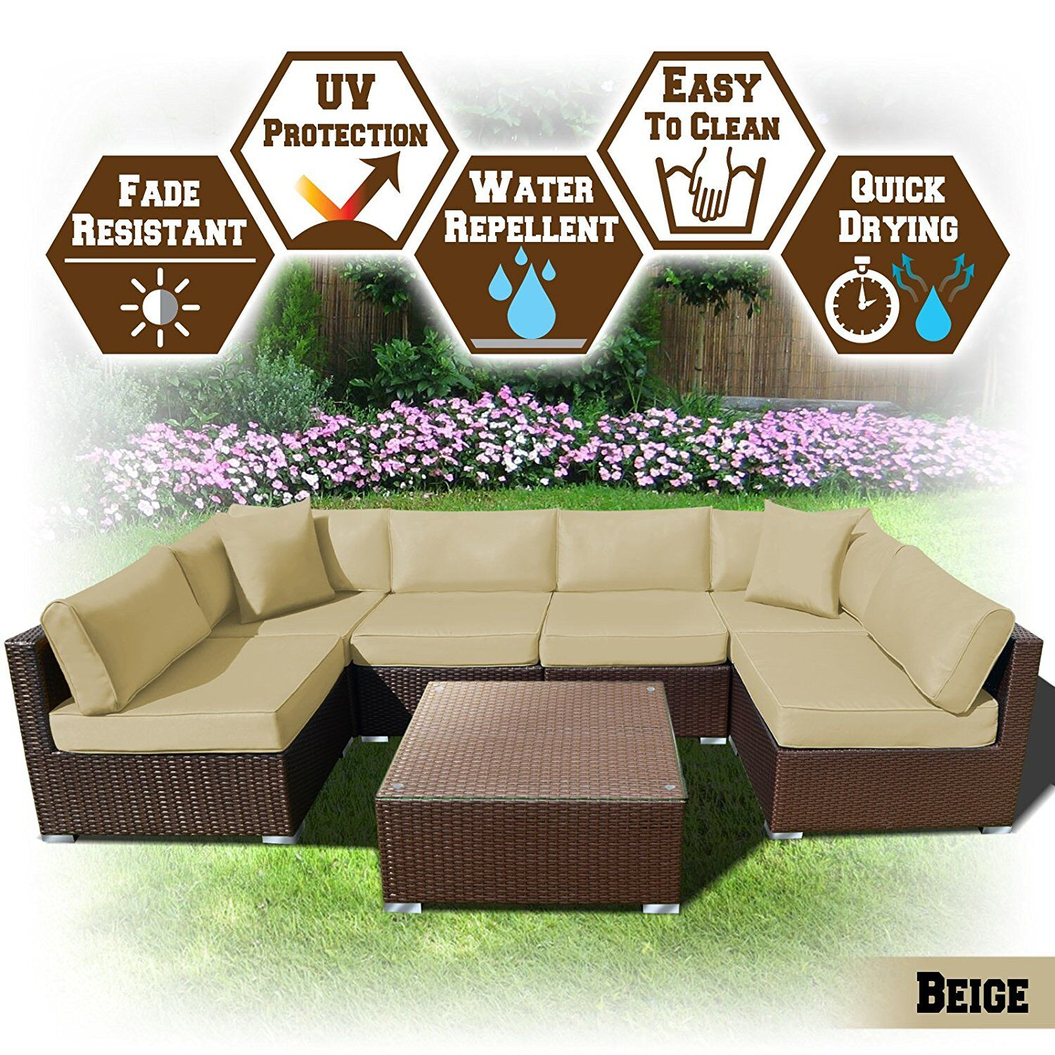 Arwen 7 Piece Rattan Seating Group with Cushions Cushion Color: Beige