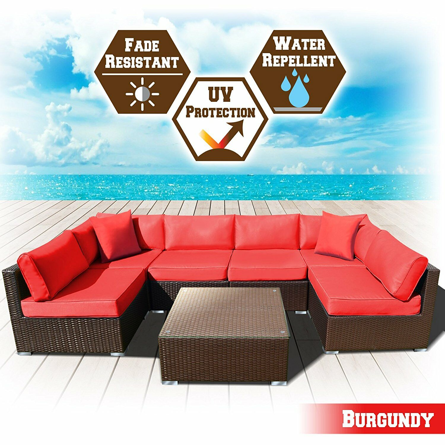 Arwen 7 Piece Rattan Seating Group with Cushions Cushion Color: Burgundy