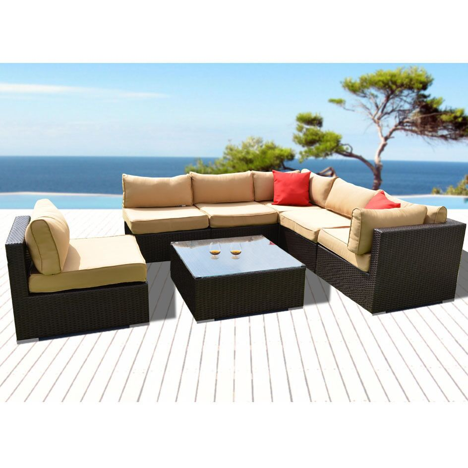Arwen 7 Piece Rattan Seating Group with Cushions Cushion Color: Sand