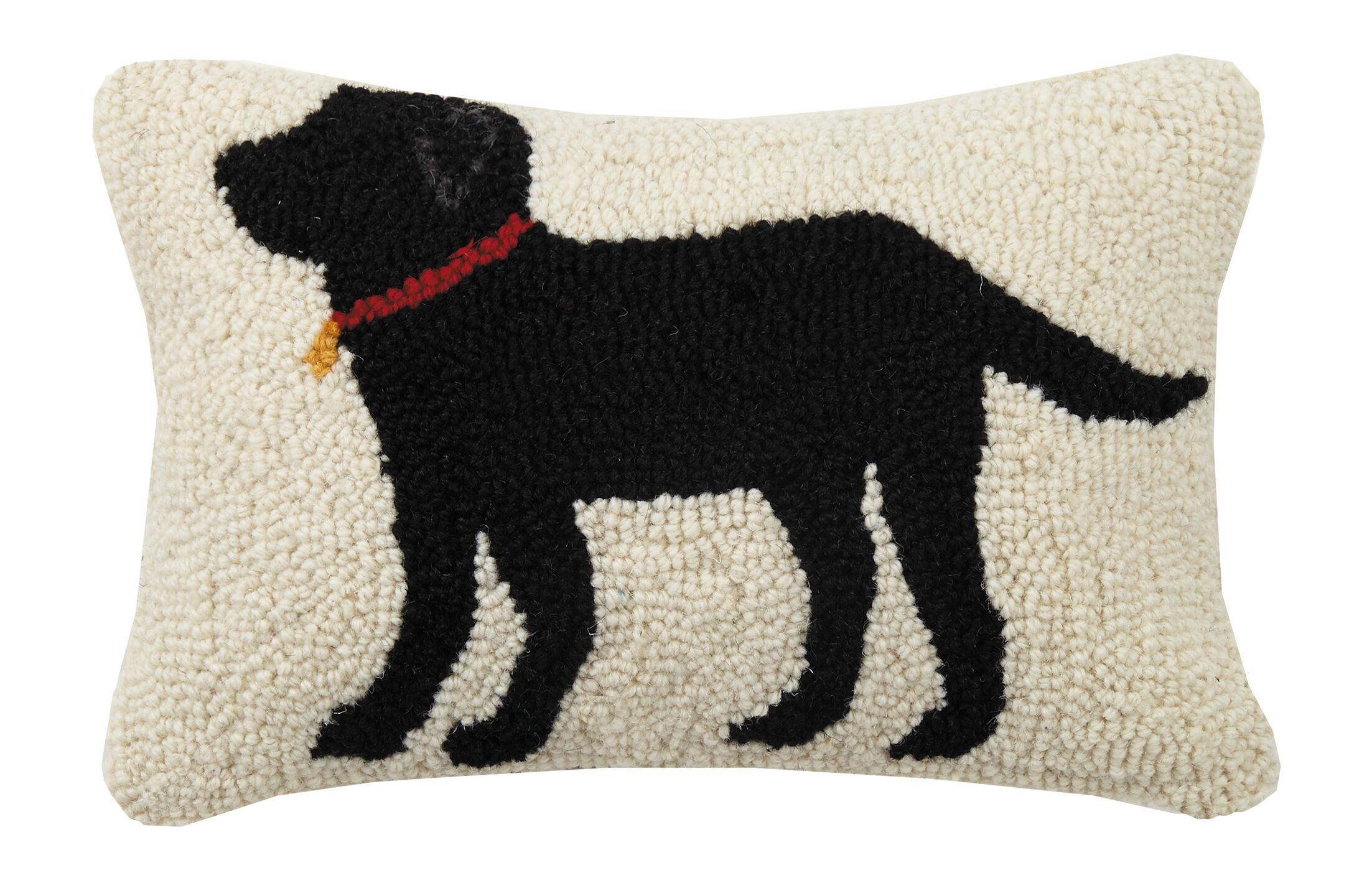 Cerys Dog With Collar Hook Wool Lumbar Pillow