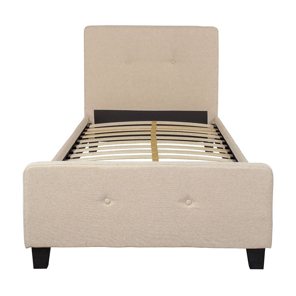 Jemima Upholstered Platform Bed Color: Beige, Size: Twin