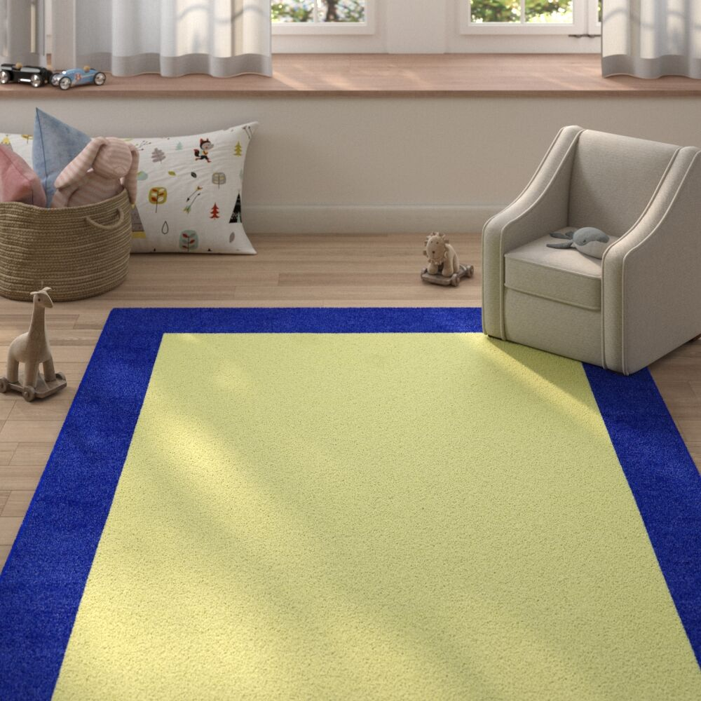 Degen Hand Tufted Wool Navy Blue/Yellow Area Rug Rug Size: 6' x 9'