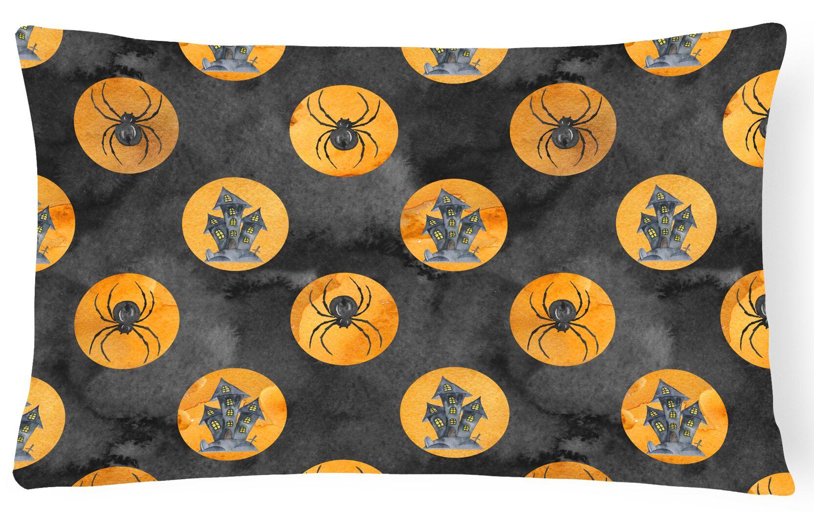 Escondido Watercolor Halloween Circles Indoor/Outdoor Throw Pillow