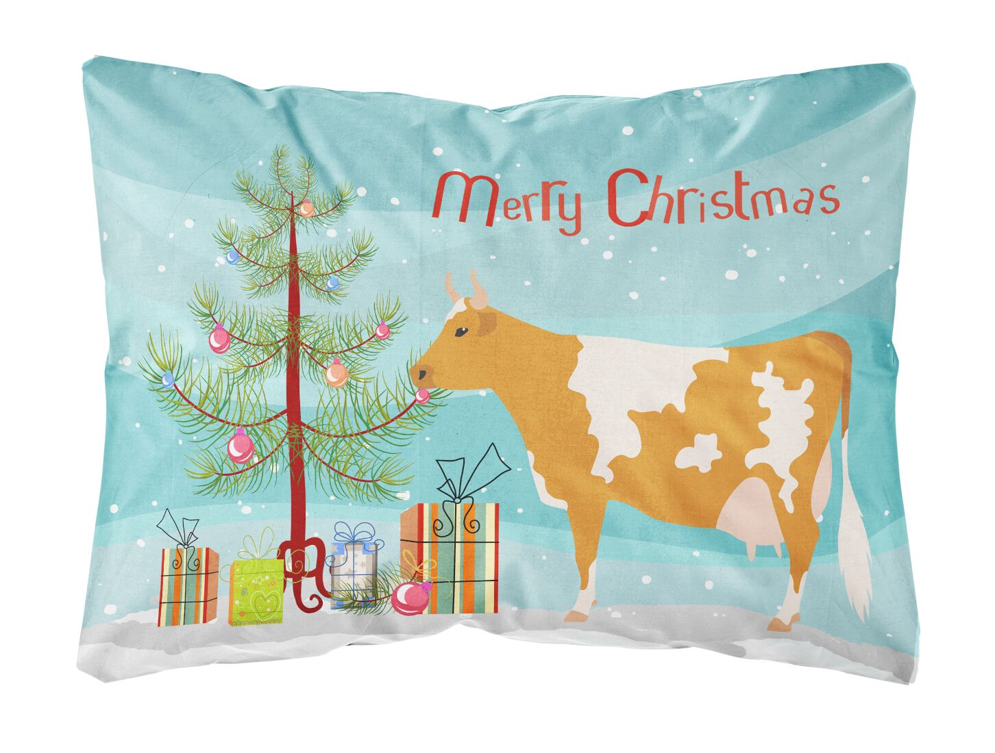 Hillside Guernsey Cow Christmas Indoor/Outdoor Throw Pillow
