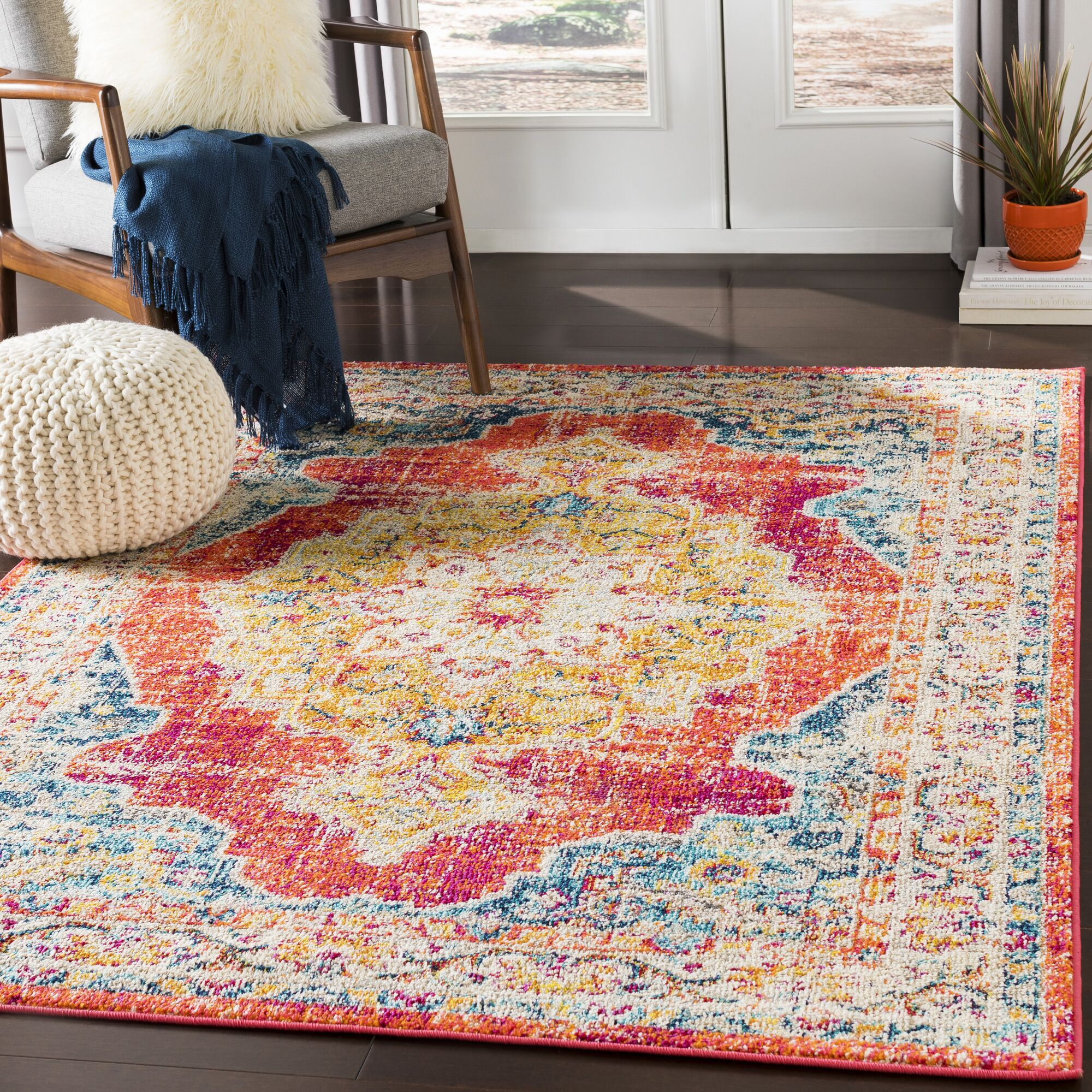 Berry Red/Yellow Area Rug Rug Size: Rectangle 7'10