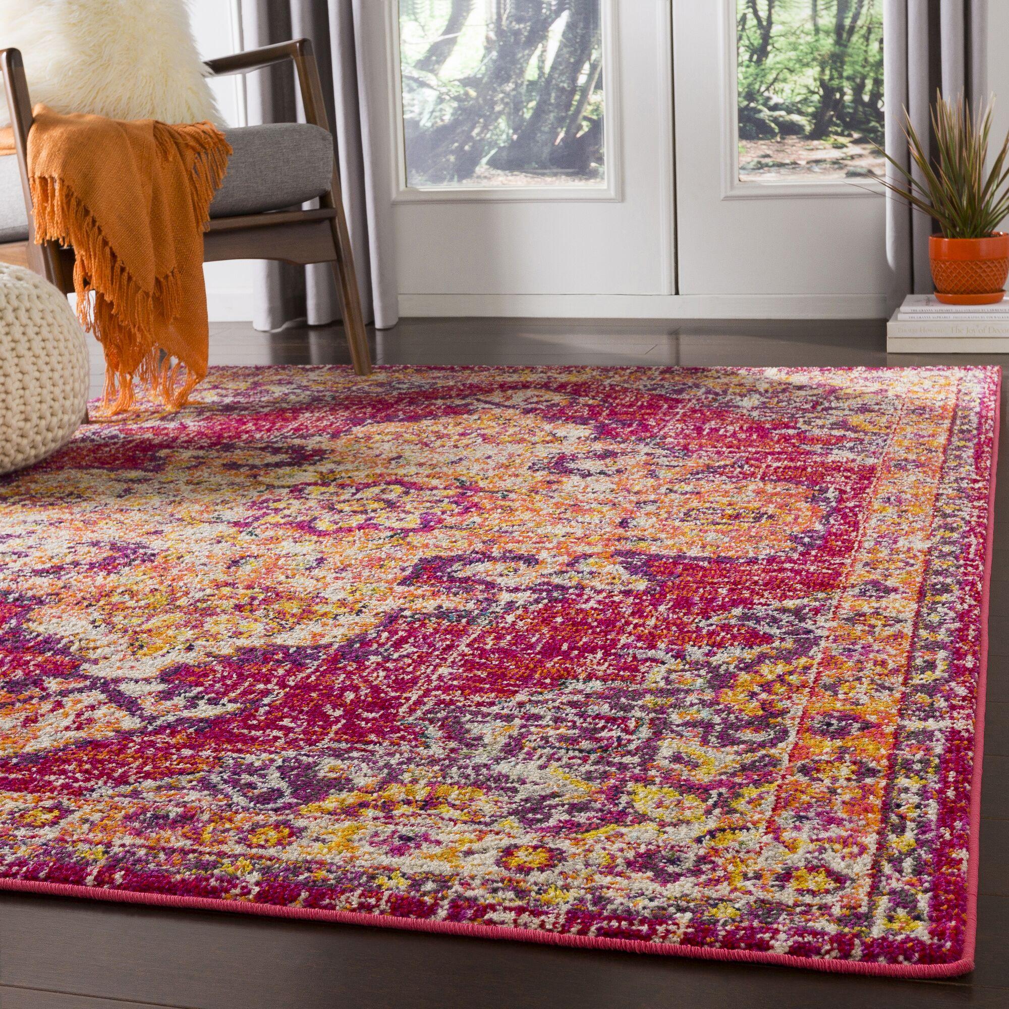Berry Pink/Orange Area Rug Rug Size: Rectangle 7'10