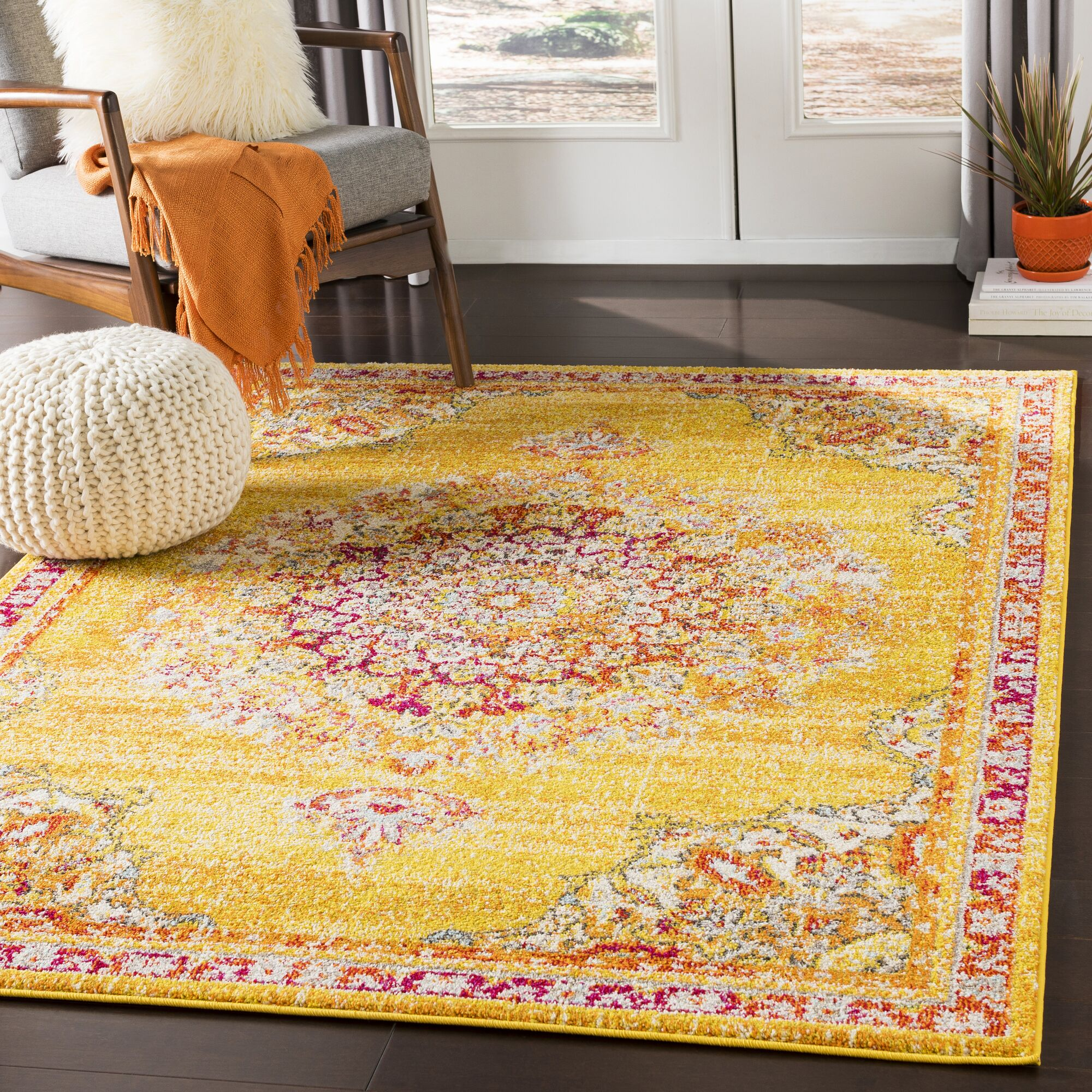Berry Yellow/Red Area Rug Rug Size: Rectangle 7'10
