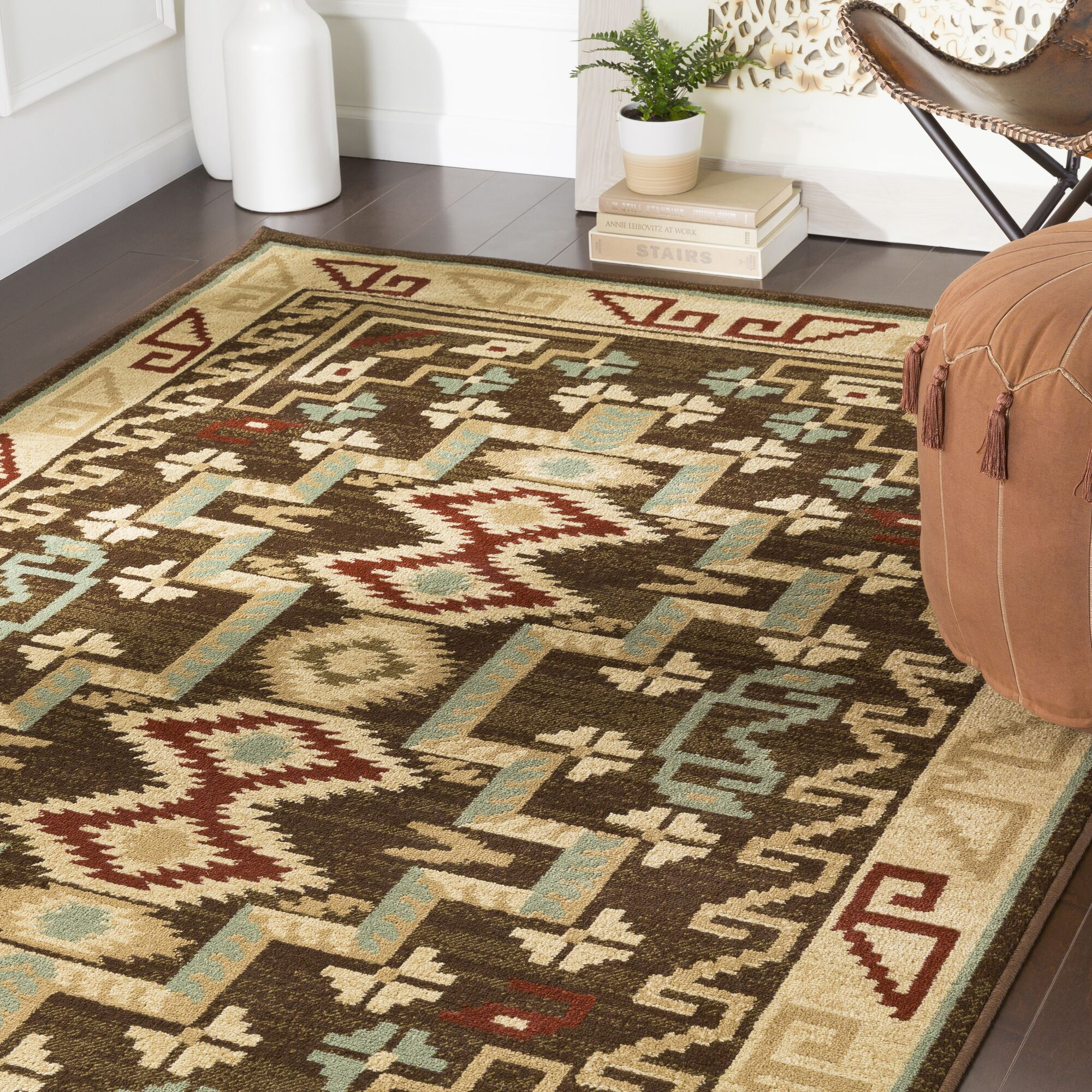 Thornton Brown/Burgundy Area Rug Rug Size: Runner 2'2