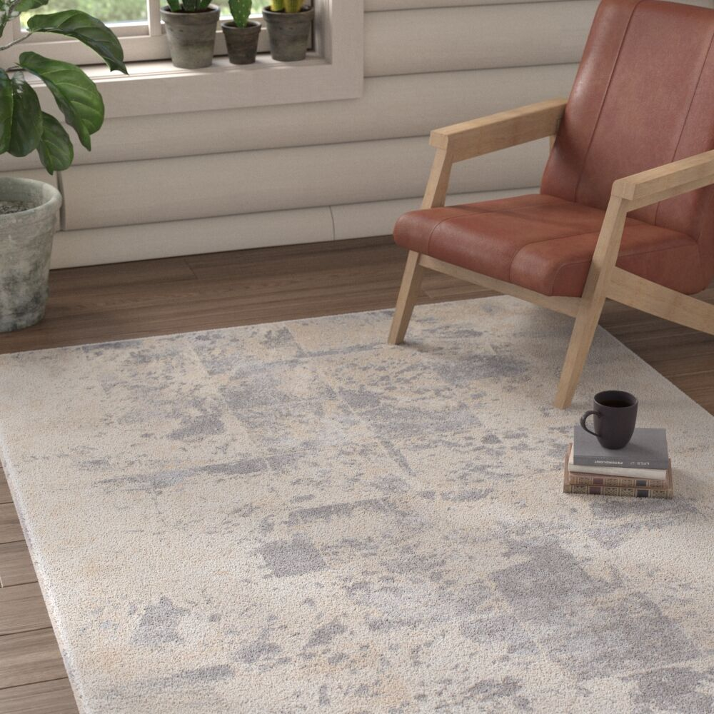 Features: -Material: 55% polyester and 45% polypropylene.-Primary Color: Medium Gray/Cream.-Primary Pattern: Geometric.-Rug Shape: Rectangle.-Construction: Machine Made.-Technique: Power Loom.-Material: Polyester;Polypropylene -Material Details: 55% P...