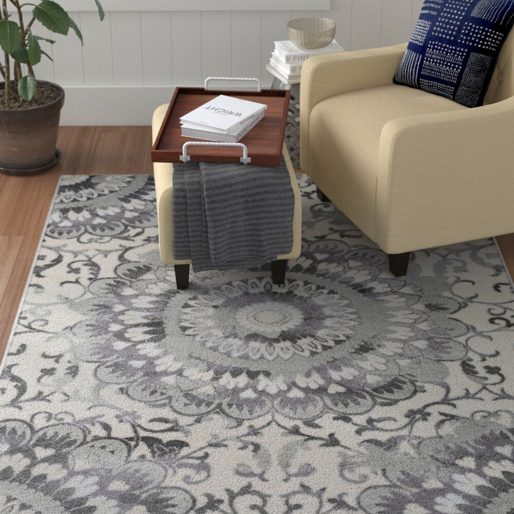 Holmstrom Gray Area Rug Rug Size: Rectangle 5'3