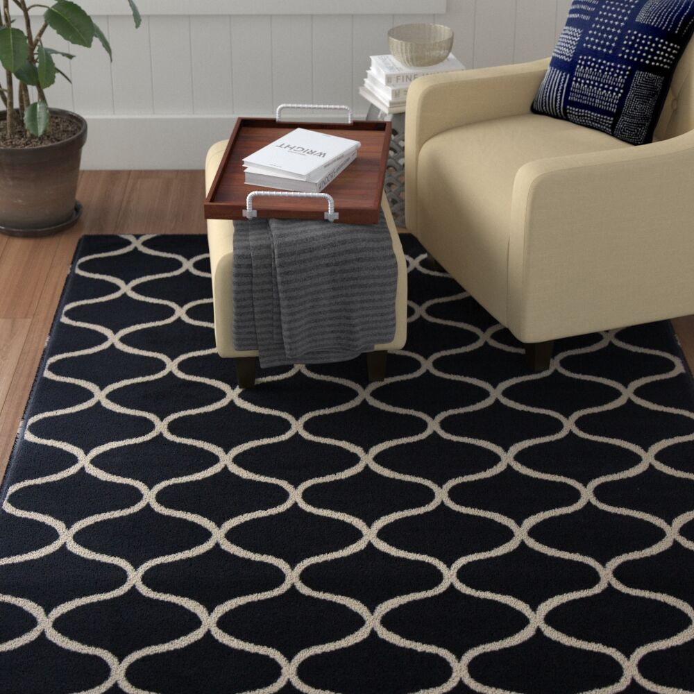 Harborview Black Area Rug Rug Size: 5'3