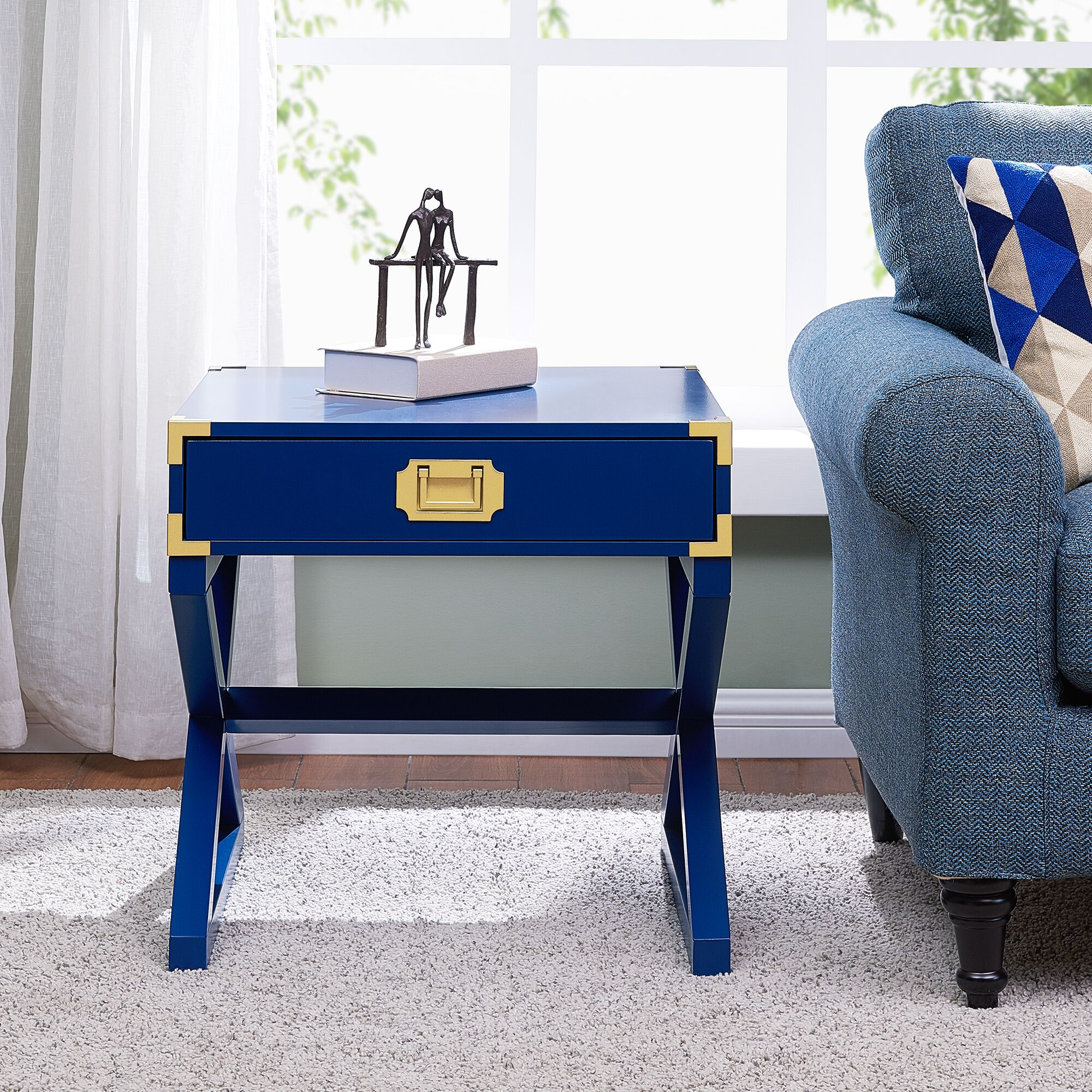 Cleorand End Table with Storage Color: Navy