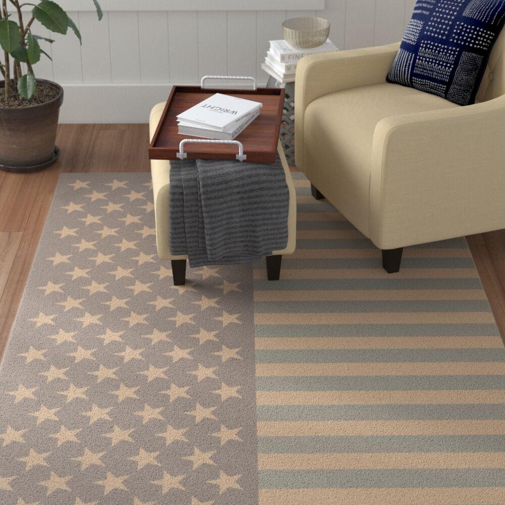 Dianne Handmade Beige/Sky Blue Area Rug Rug Size: Rectangle 2' x 3'