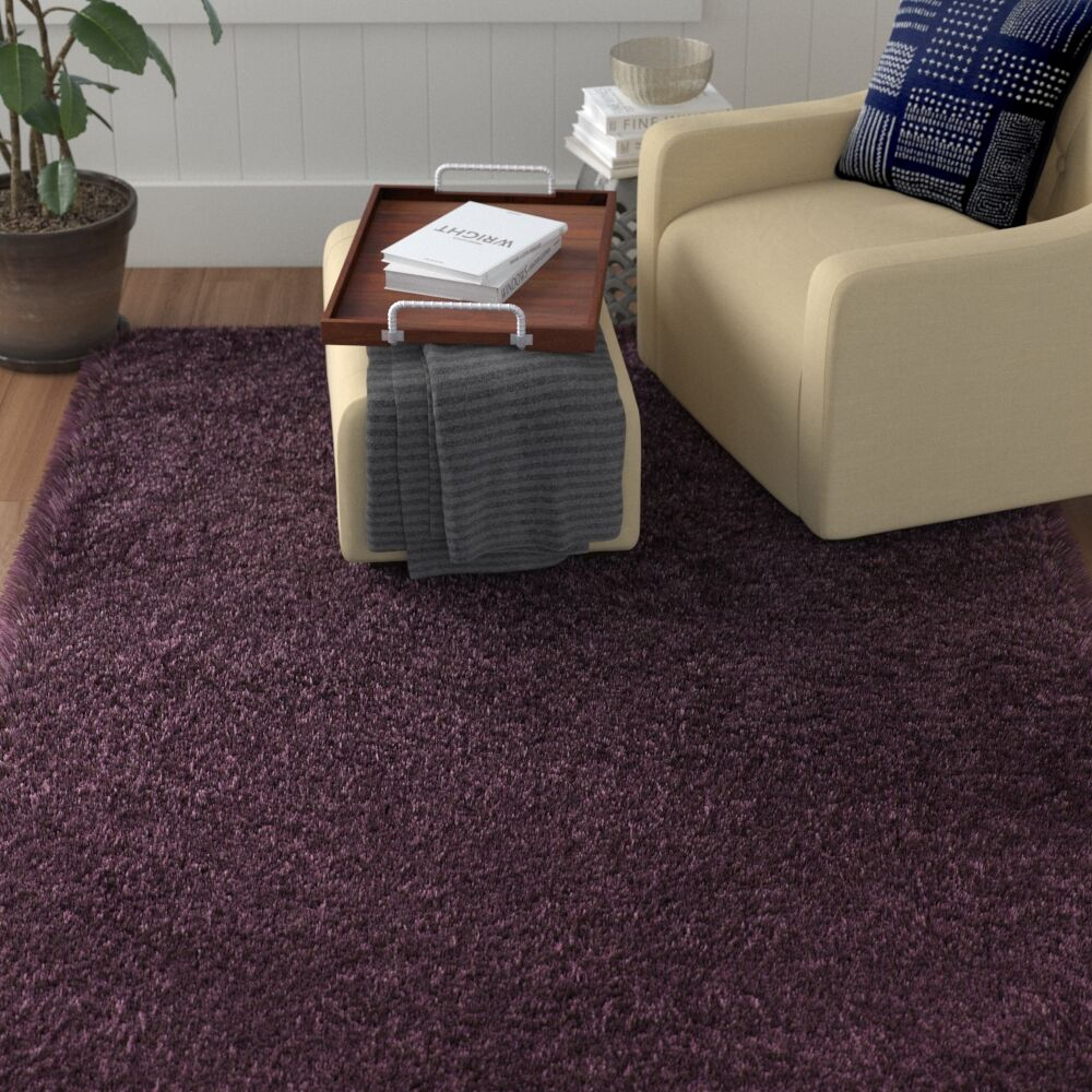 Blaisdell Shag Hand Woven Purple Area Rug Rug Size: Rectangle 6' x 9'